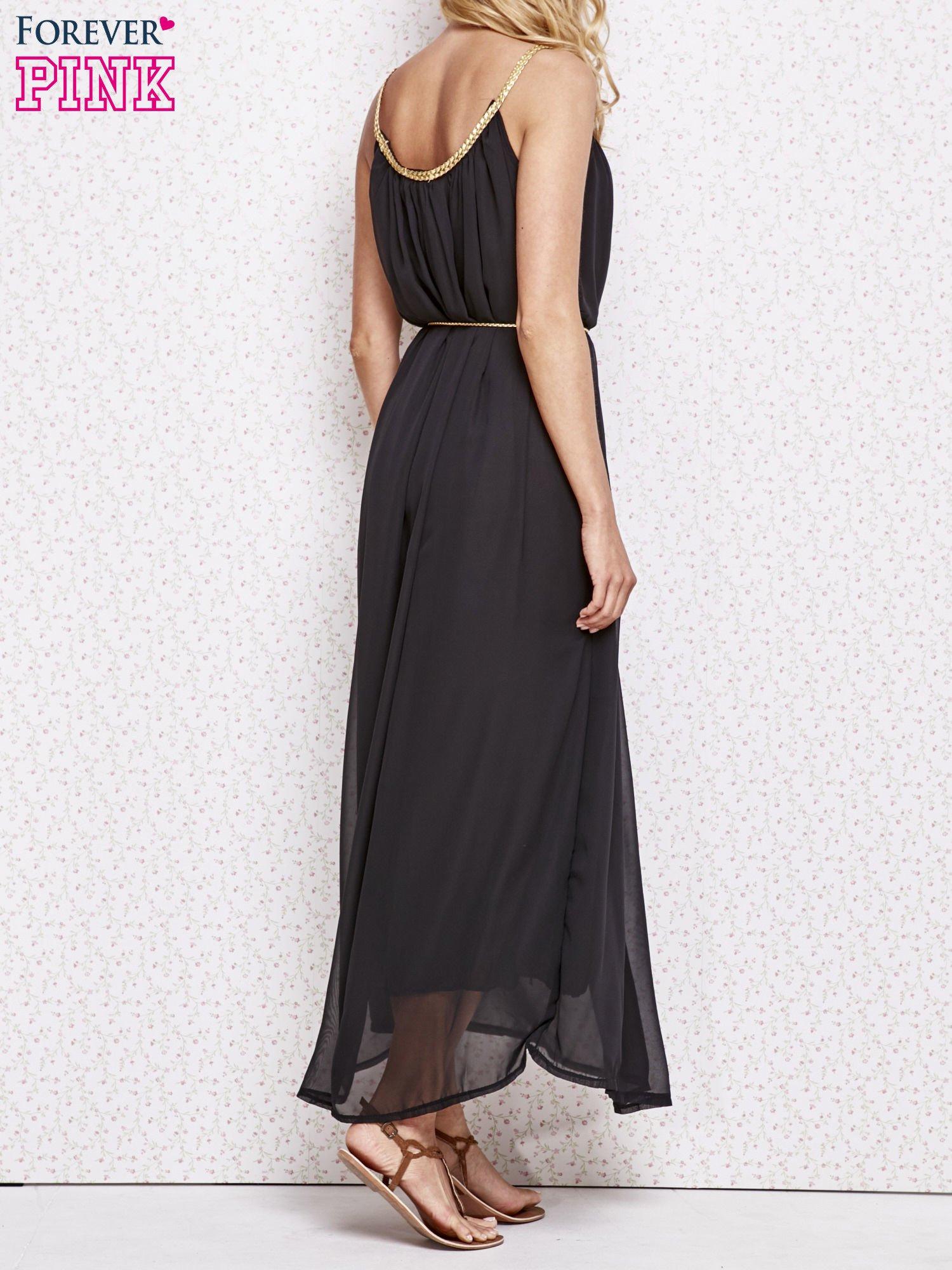 Czarna grecka sukienka maxi ze złotym paskiem                                  zdj.                                  4