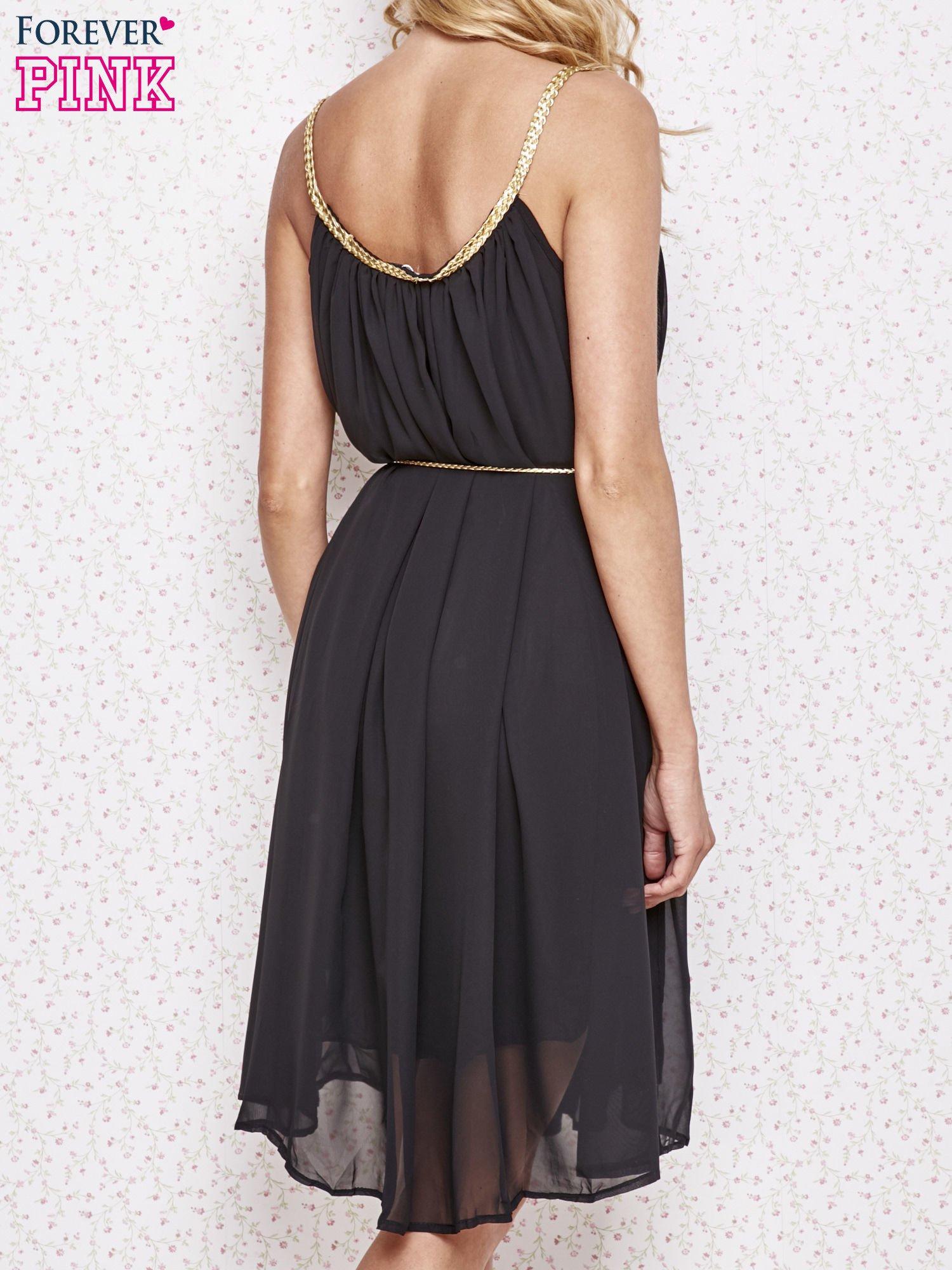 Czarna grecka sukienka ze złotym paskiem                                  zdj.                                  4