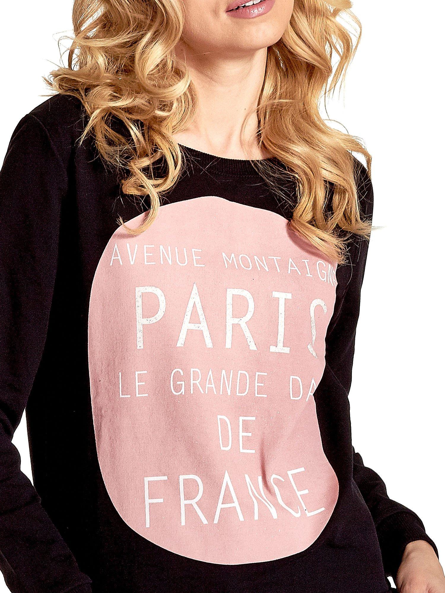 Czarna klasyczna bluza damska z napisem AVENUE MONTAIGNE                                  zdj.                                  3