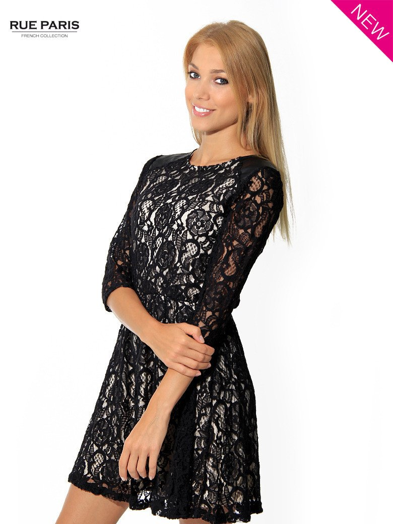 Czarna koronkowa sukienka z rękawem 3/4                                  zdj.                                  2