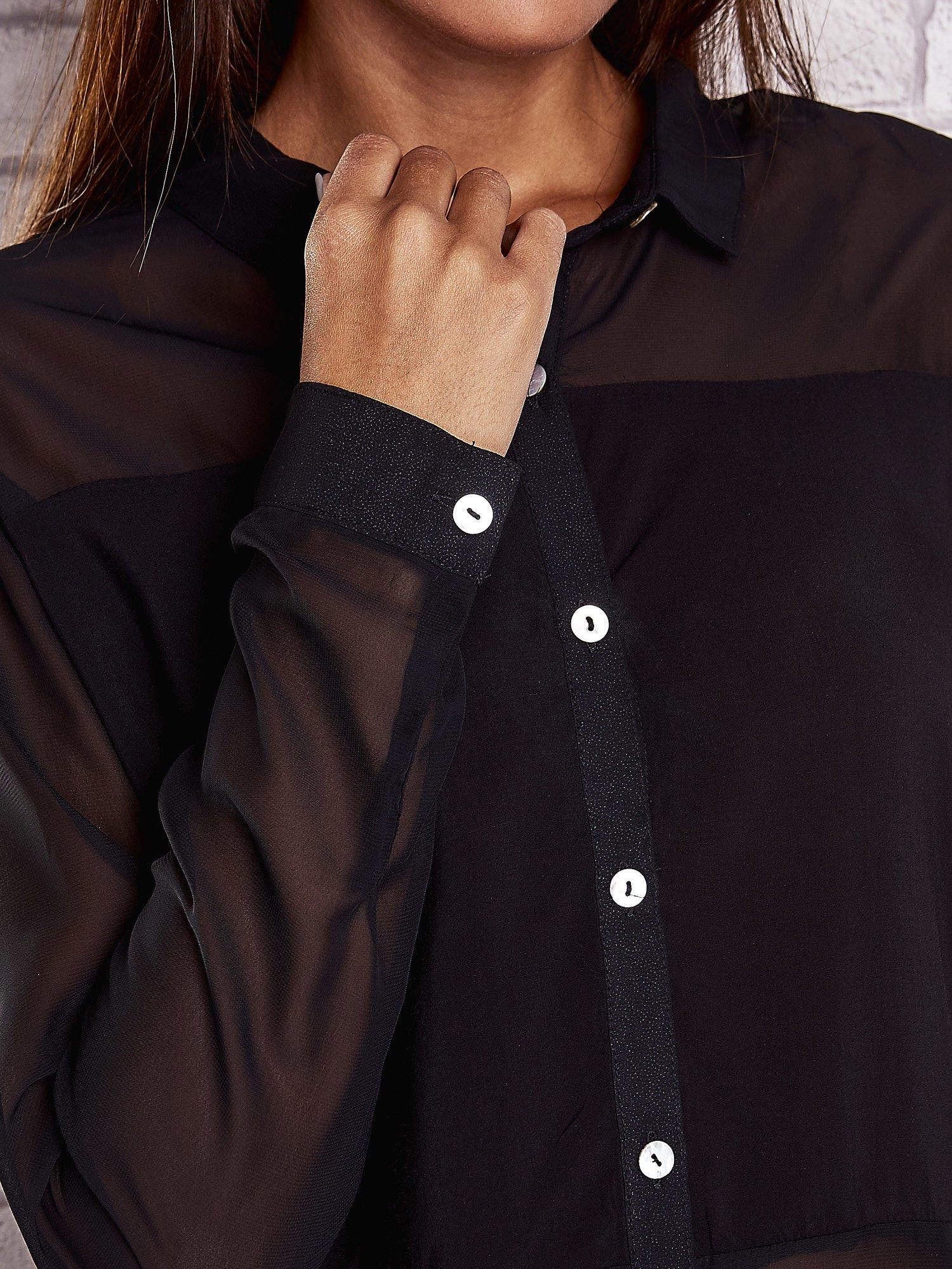 Czarna koszula mgiełka z dłuższym tyłem                                  zdj.                                  6