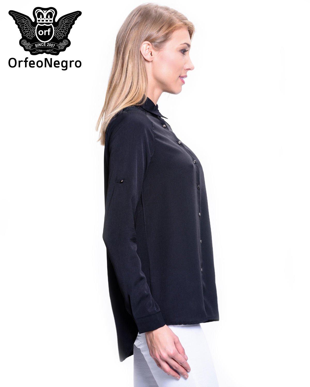 Czarna koszula z koronkową wstawką przy ramionach                                  zdj.                                  3