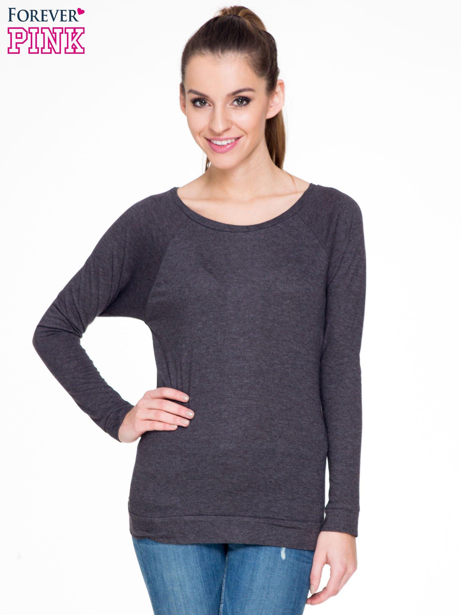 Czarna melanżowa bawełniana bluzka z rękawami typu reglan                                  zdj.                                  1
