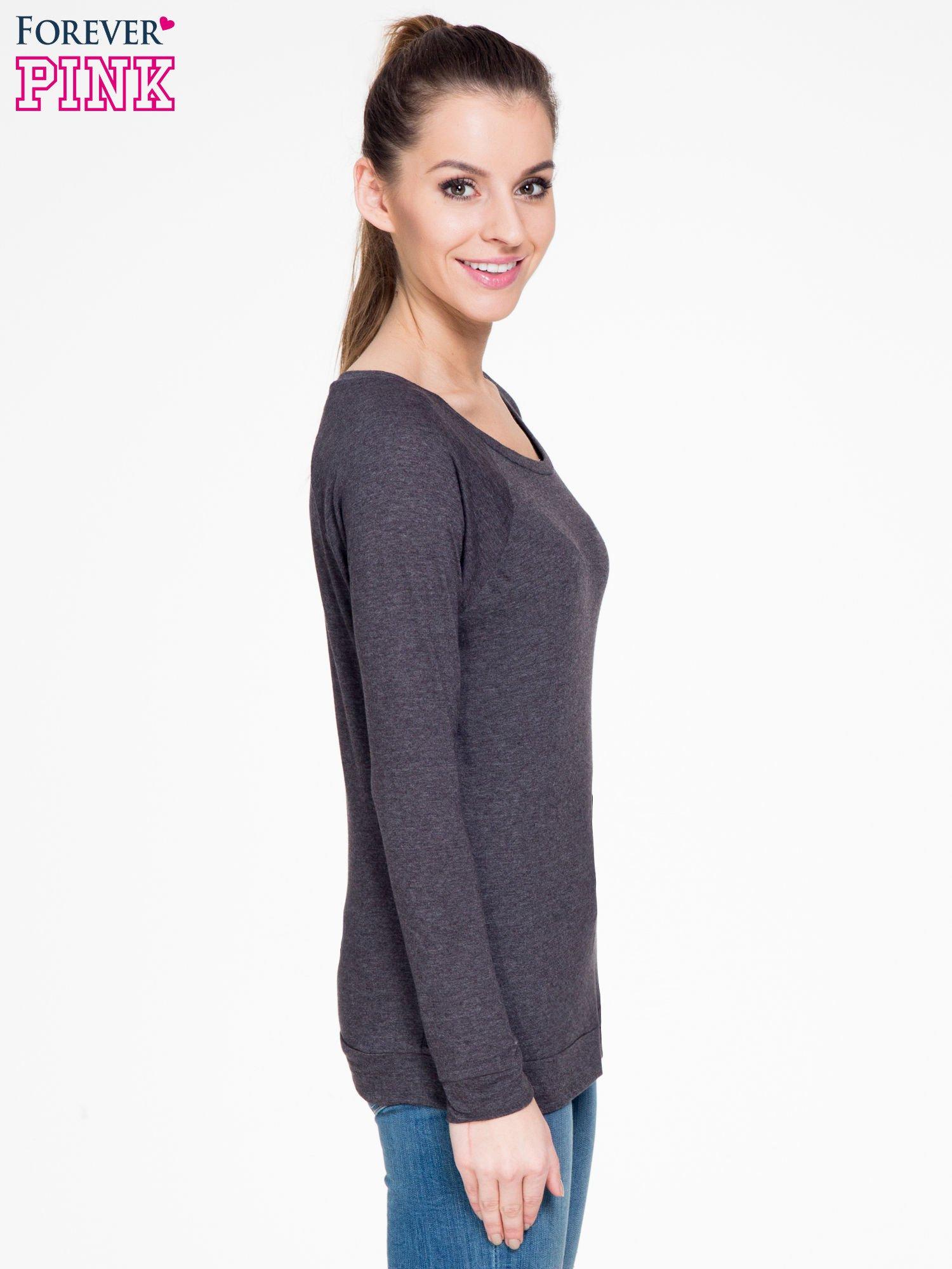 Czarna melanżowa bawełniana bluzka z rękawami typu reglan                                  zdj.                                  3