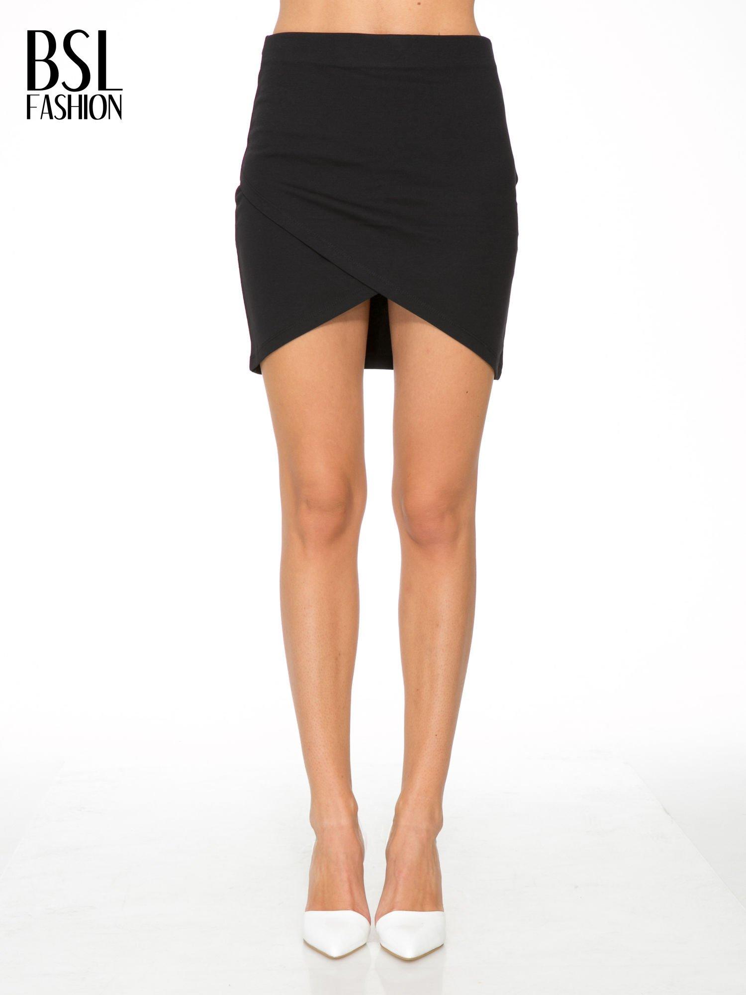 Czarna mini spódnica kopertowa                                  zdj.                                  1