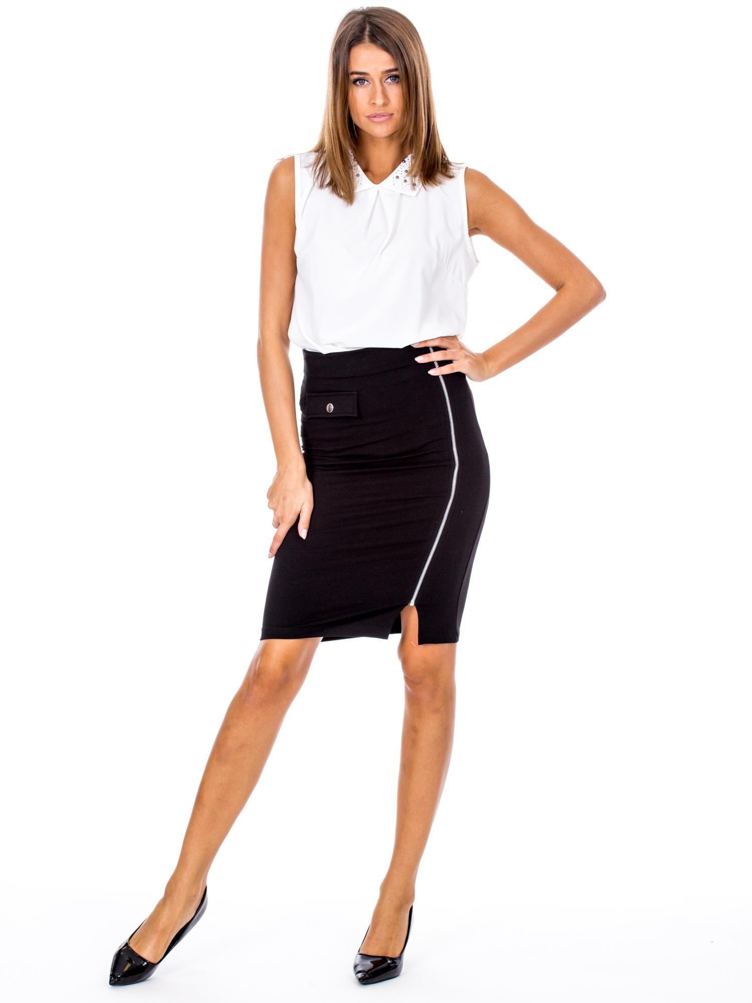 Groovy Czarna ołówkowa spódnica z suwakiem - Spódnica ołówkowa - sklep MQ17