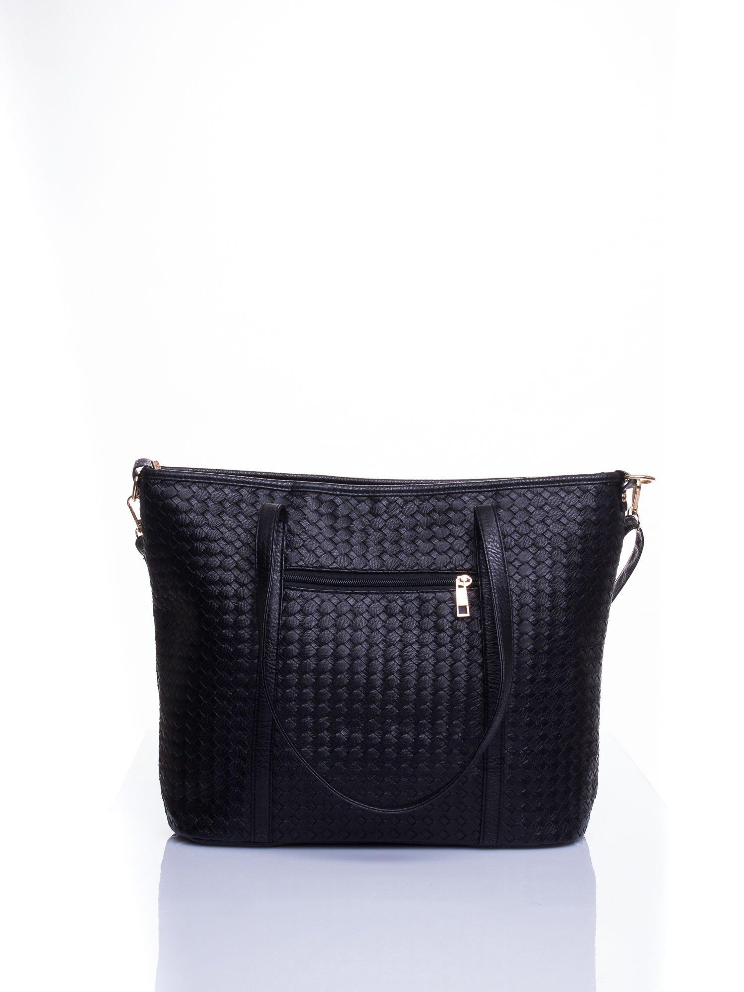 Czarna pleciona torba shopper bag ze złotym detalem                                  zdj.                                  3
