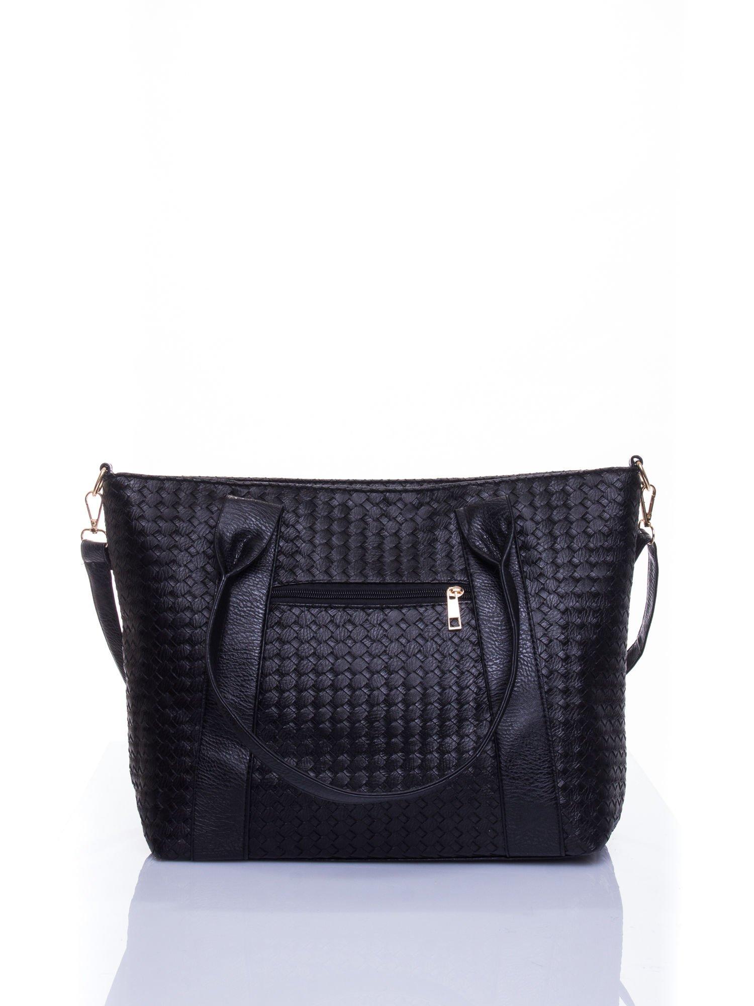 Czarna pleciona torebka z suwakami                                  zdj.                                  3