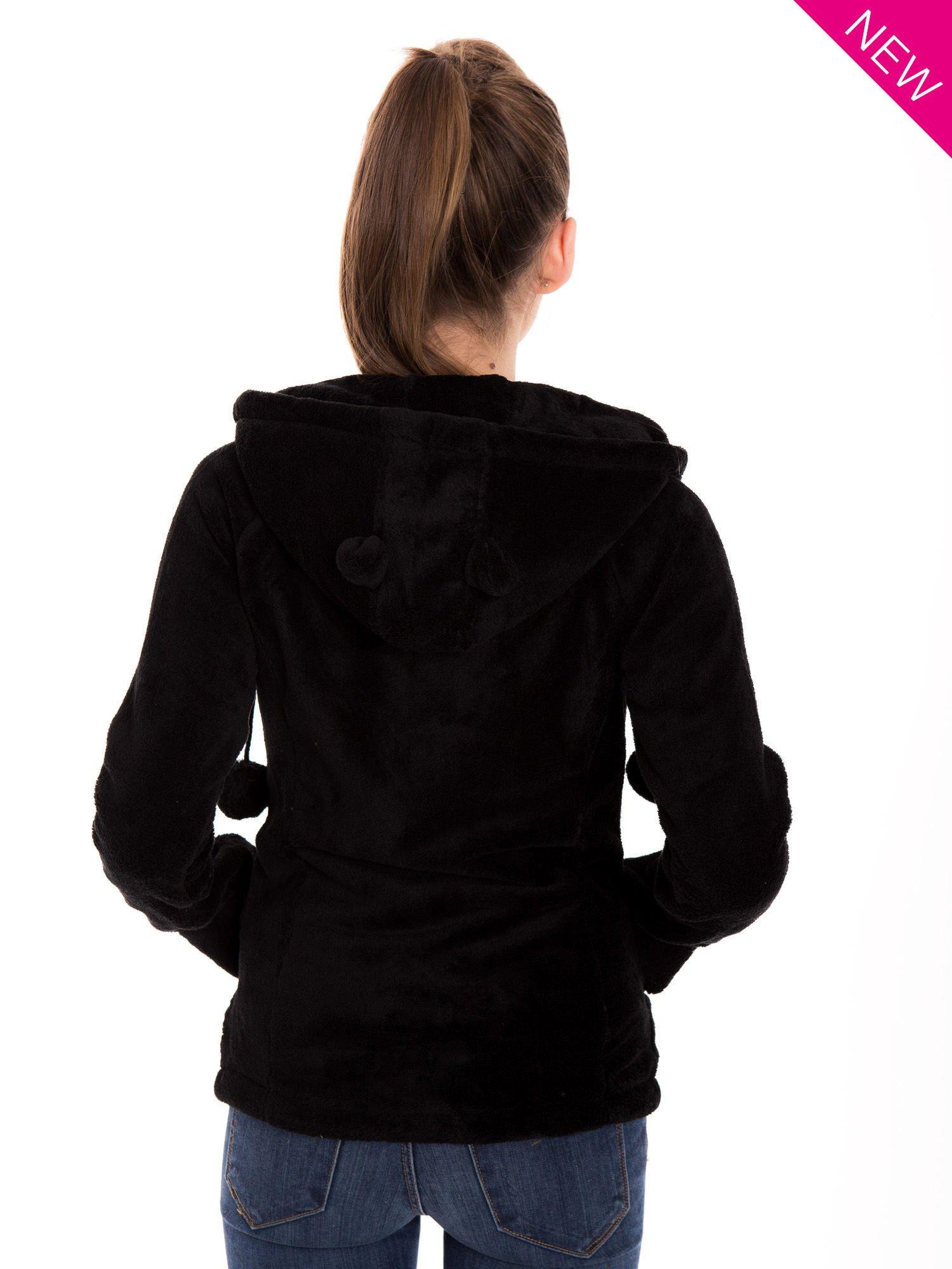 Czarna pluszowa bluza z kapturem z uszkami i pomponami                                  zdj.                                  4
