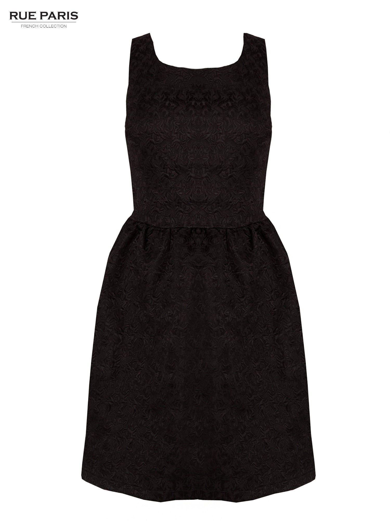 Czarna rozkloszowana sukienka z żakardowego materiału                                  zdj.                                  1