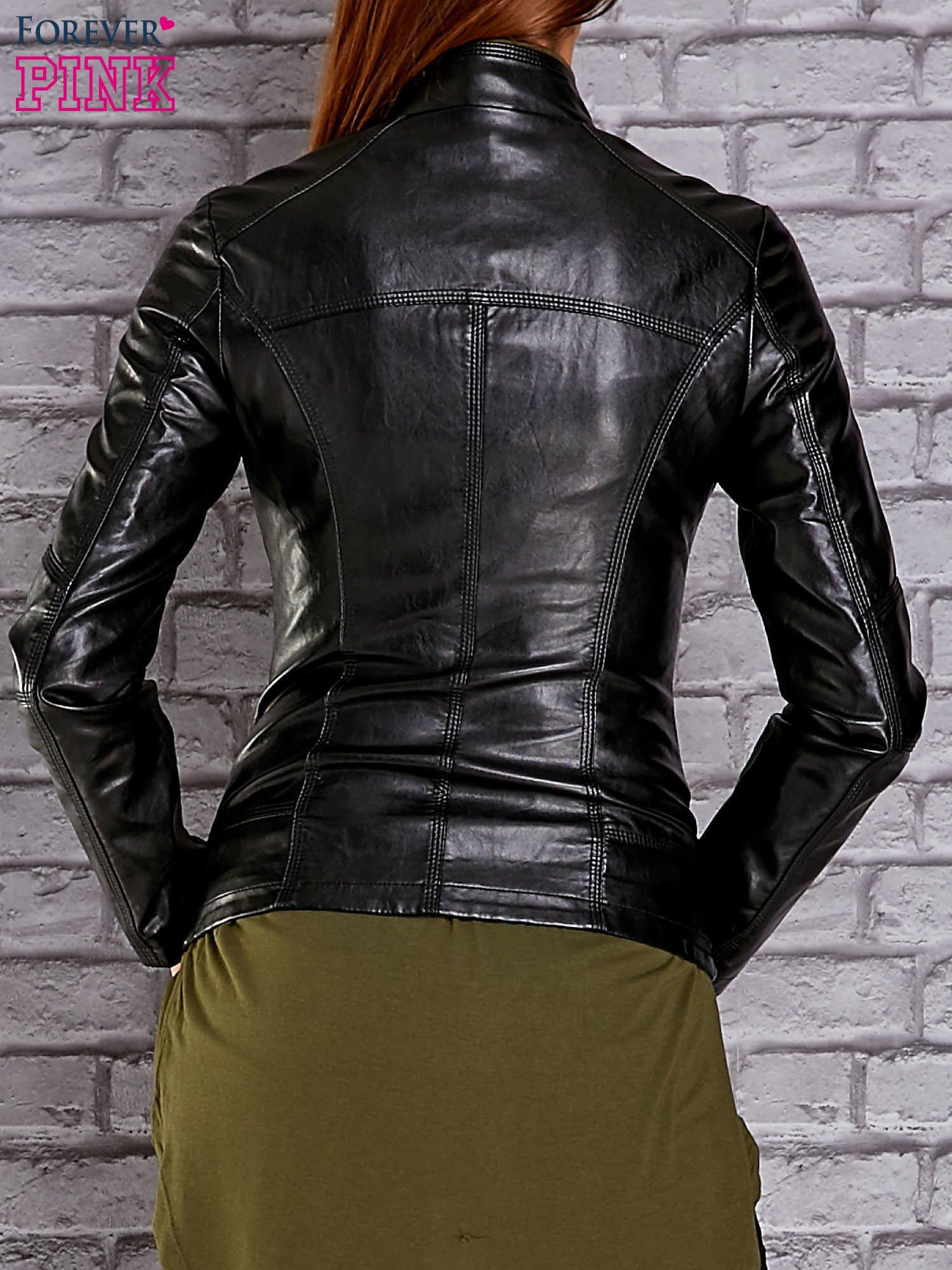 Czarna skórzana kurtka ramoneska ze stójką                                  zdj.                                  2