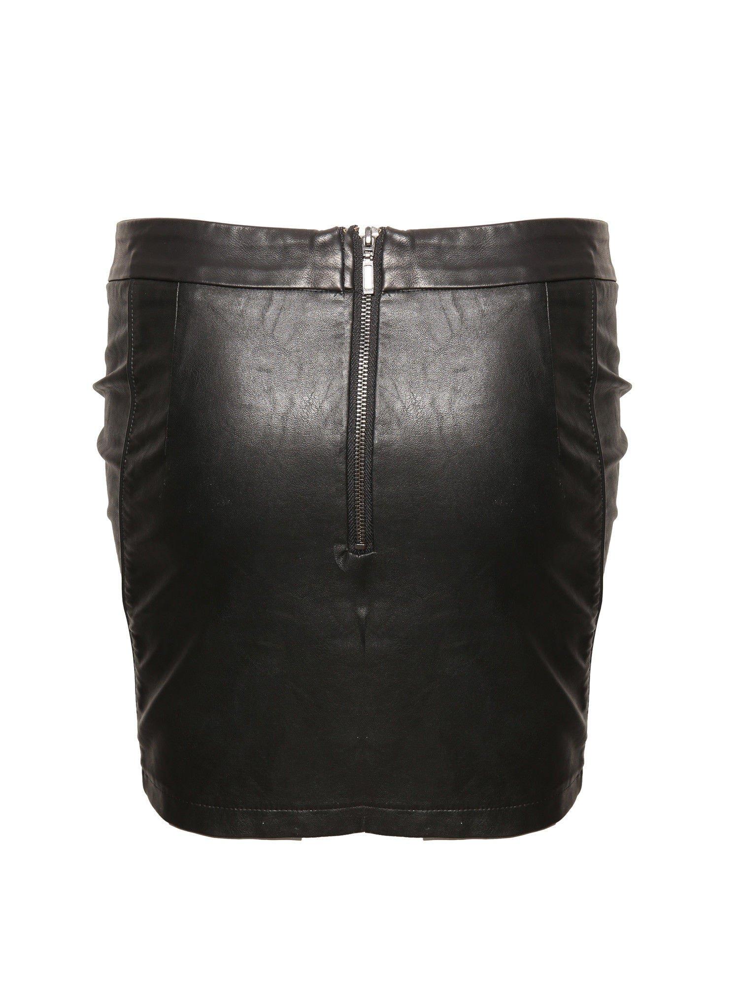 Czarna skórzana spódnica mini z kieszeniami                                  zdj.                                  2