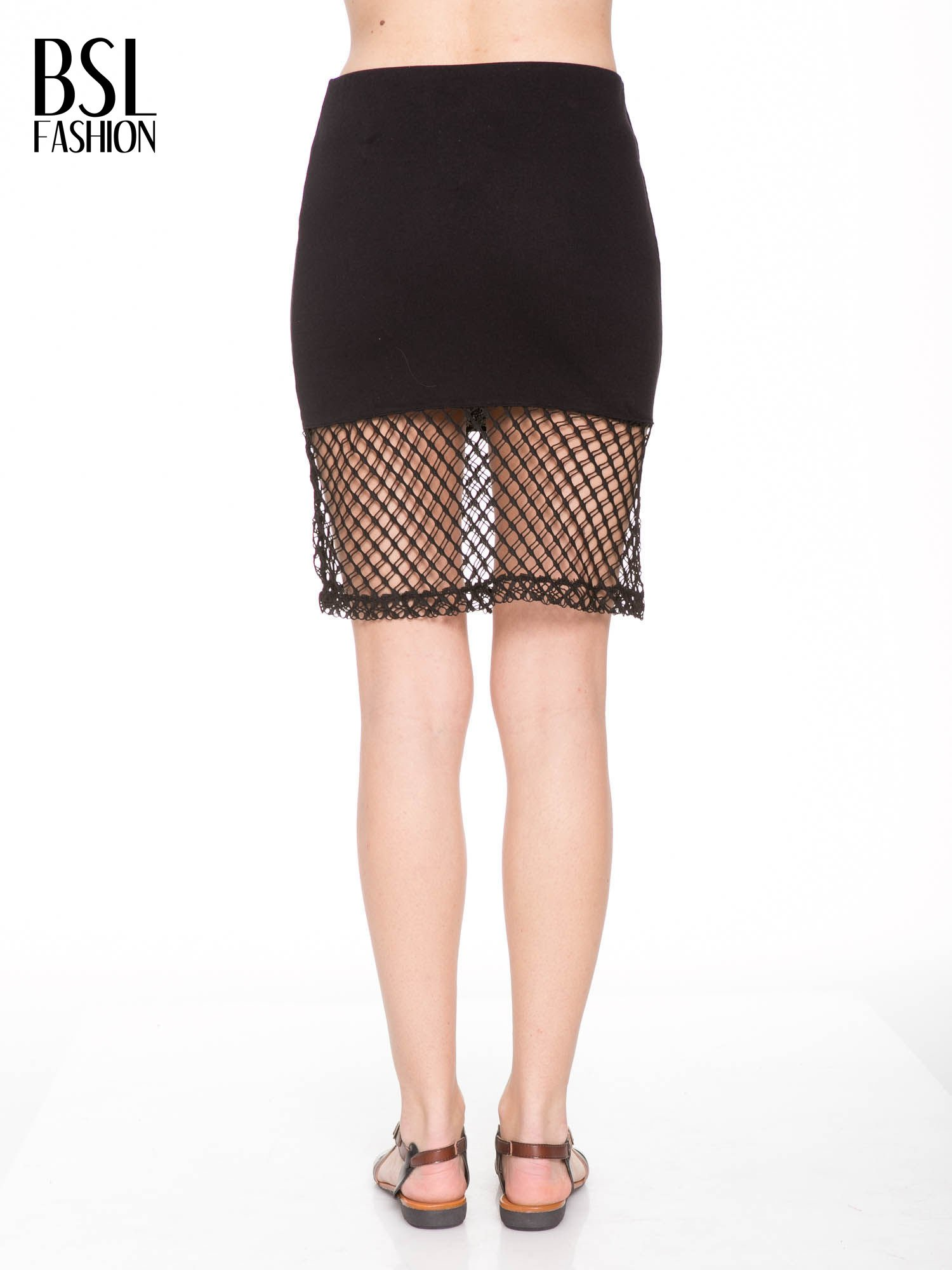 Czarna spódnica do kolan z siatki                                  zdj.                                  3