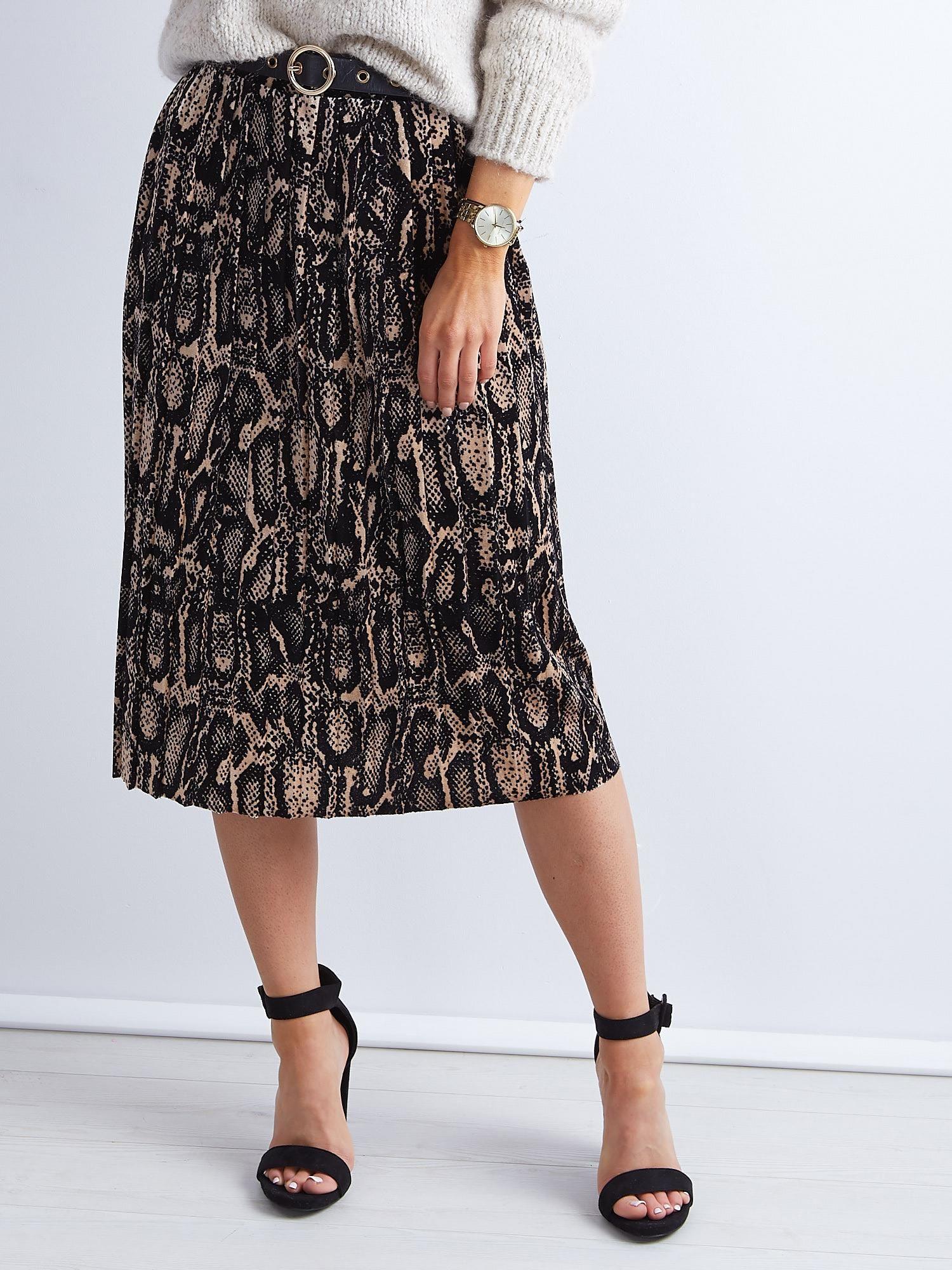 3f87ff68 Czarna plisowana spódnica midi z motywem zwierzęcym - Spódnica ...