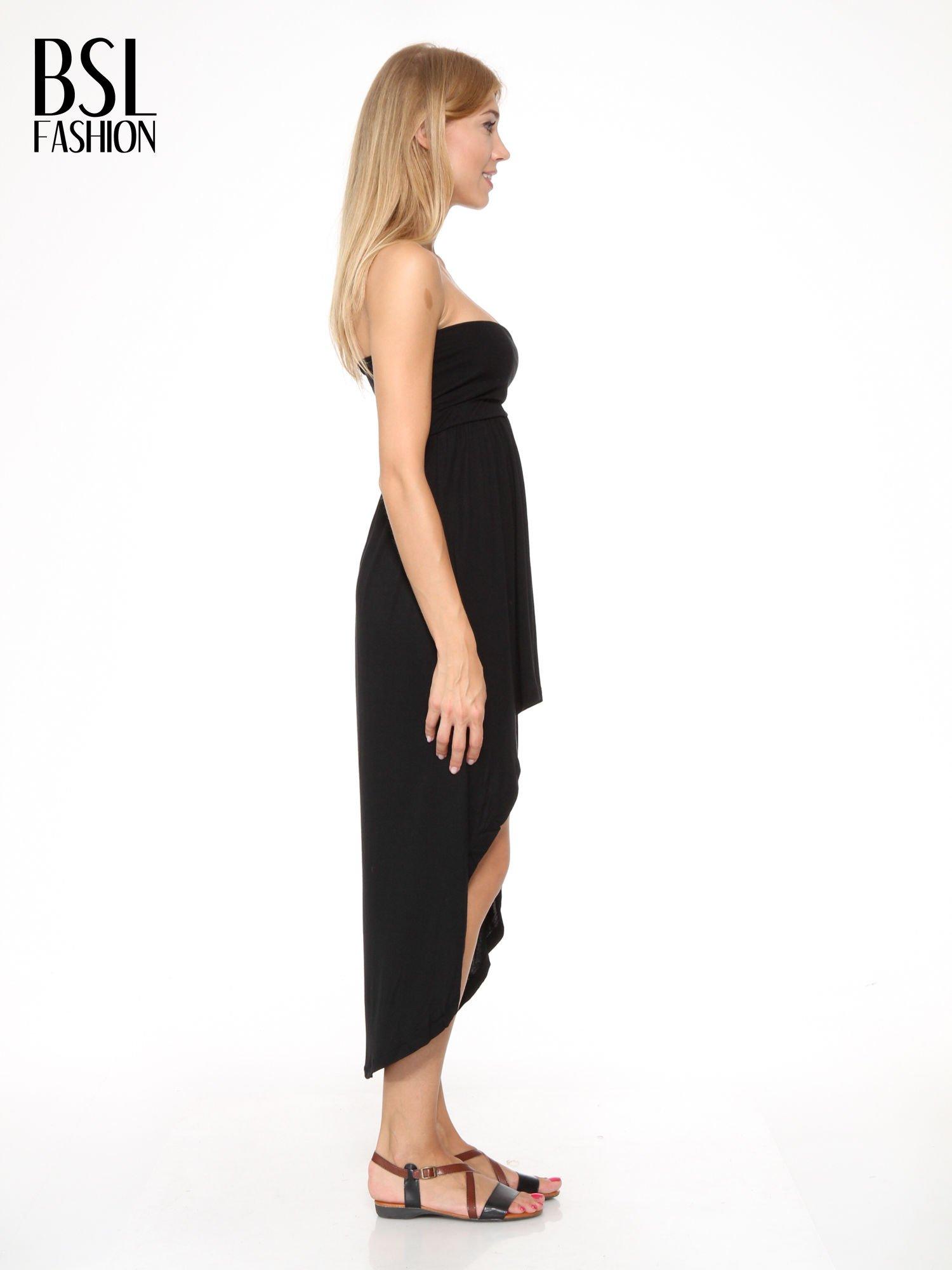 Czarna sukienka bez ramiączek z dłuższym tyłem                                  zdj.                                  3