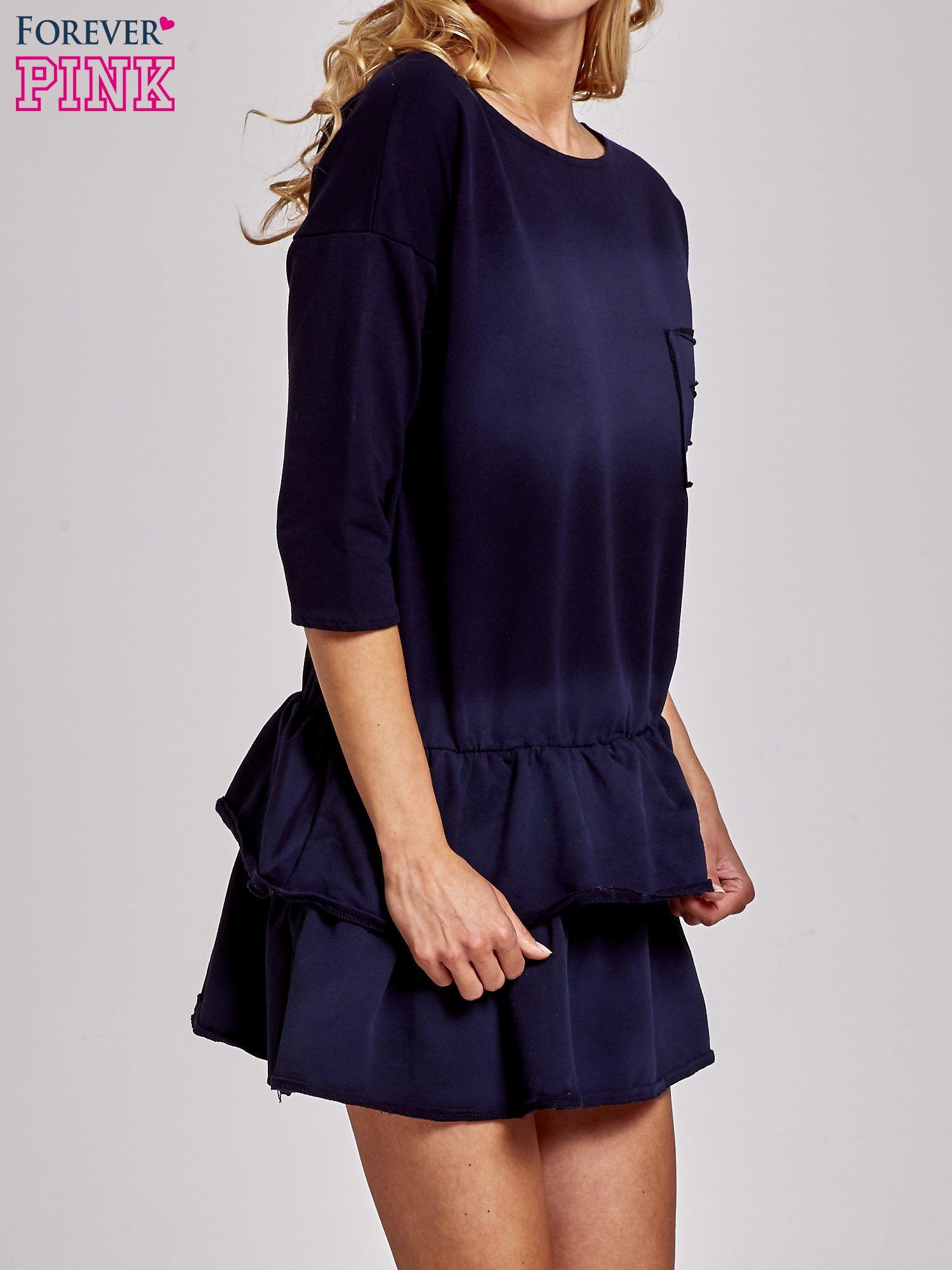 Czarna sukienka dresowa ombre z podwójną falbaną                                  zdj.                                  3