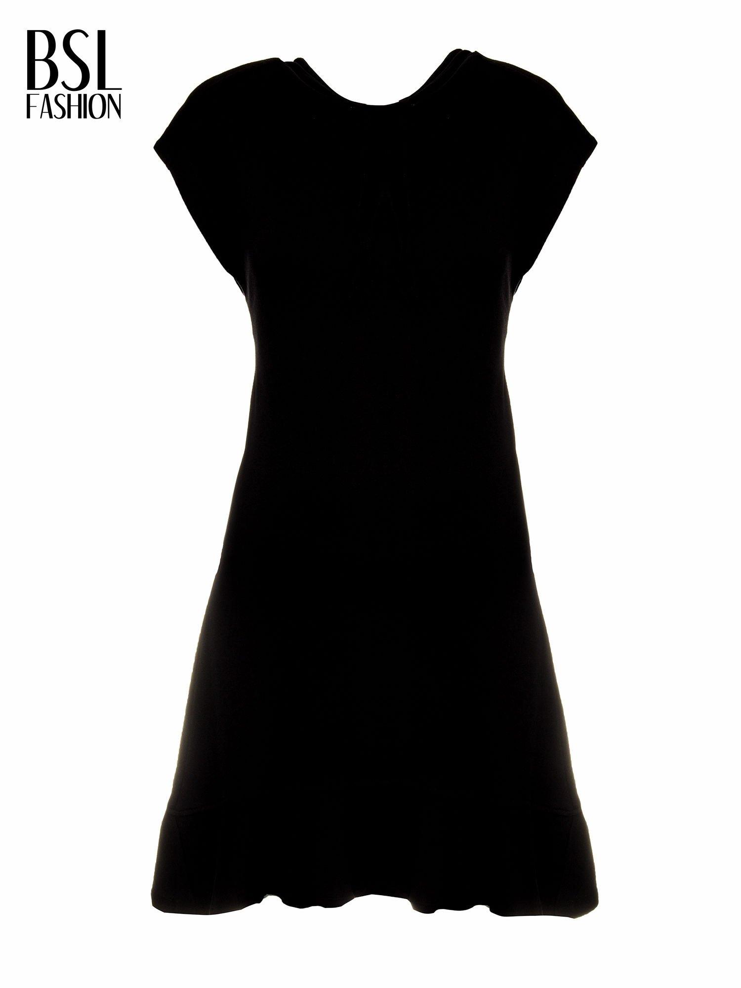 Czarna sukienka dresowa z falbaną na dole                                  zdj.                                  5