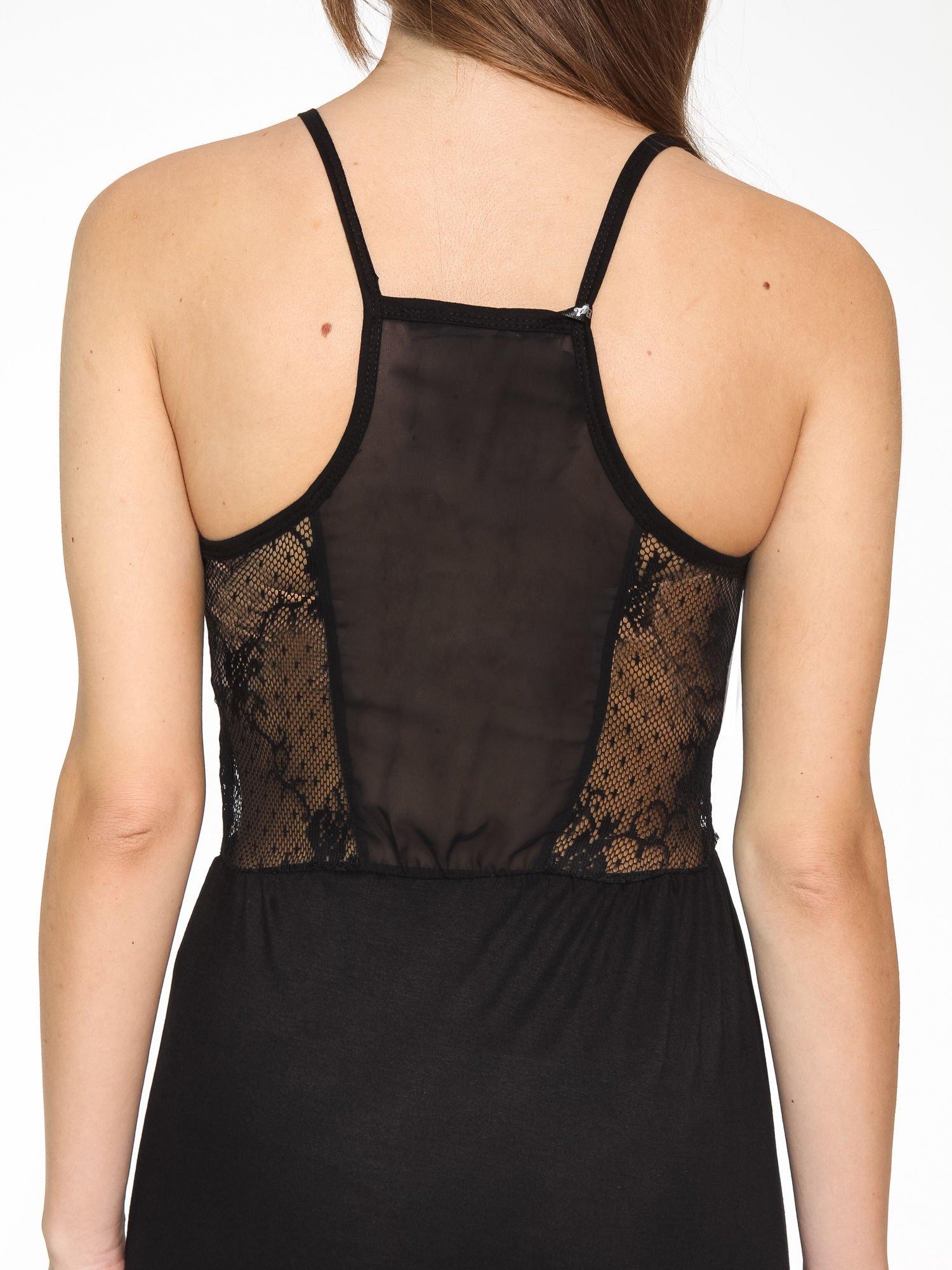 Czarna sukienka maxi na ramiączkach z koronkowym tyłem                                  zdj.                                  8