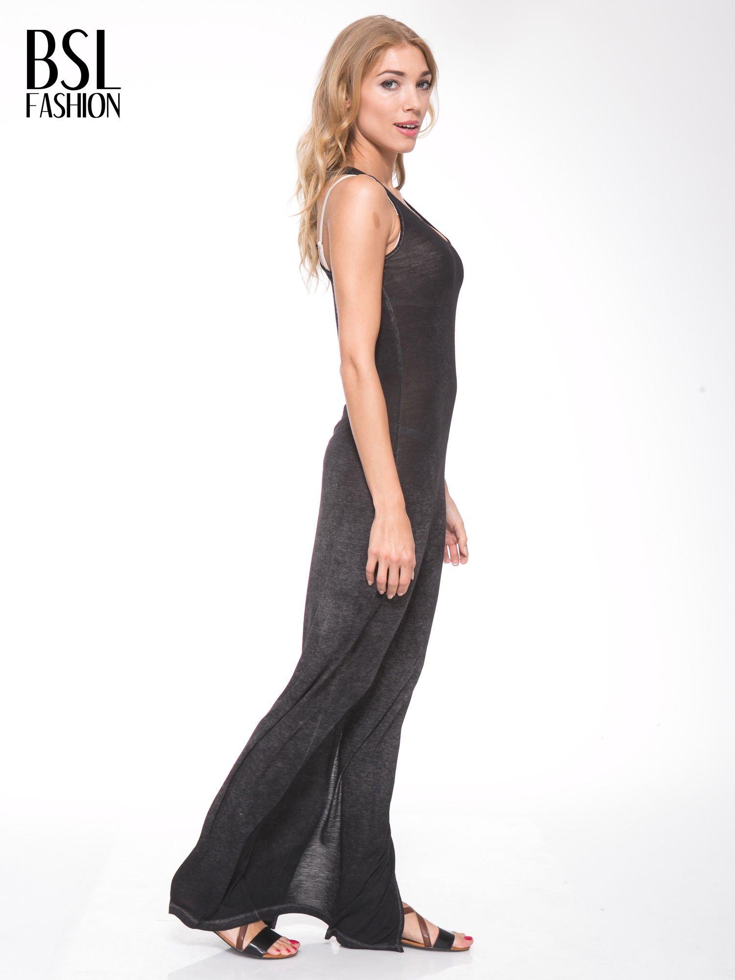 Czarna sukienka maxi z efektem sprania                                  zdj.                                  2