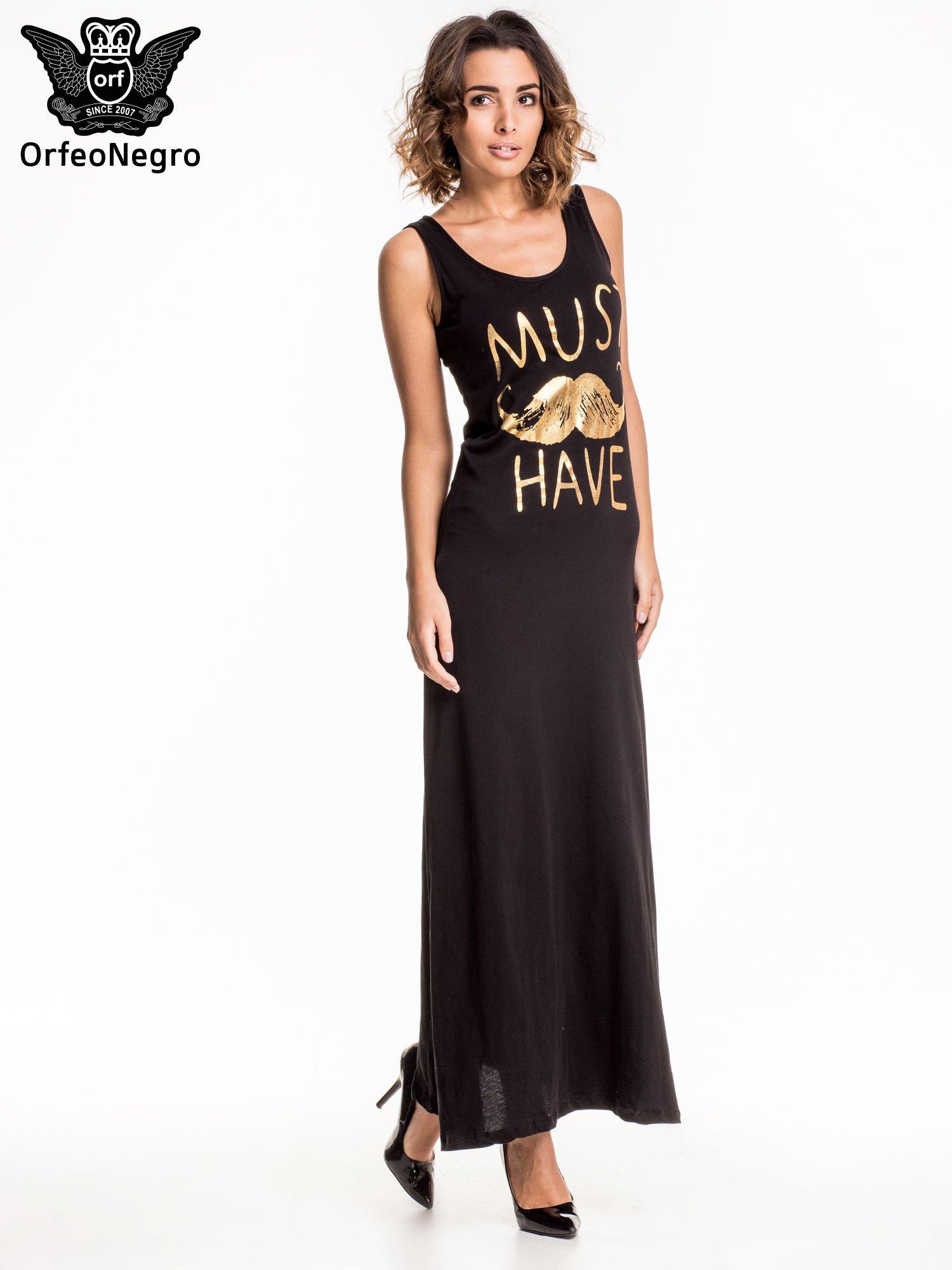 Czarna sukienka maxi z napisem MUST HAVE i motywem moustache                                  zdj.                                  2