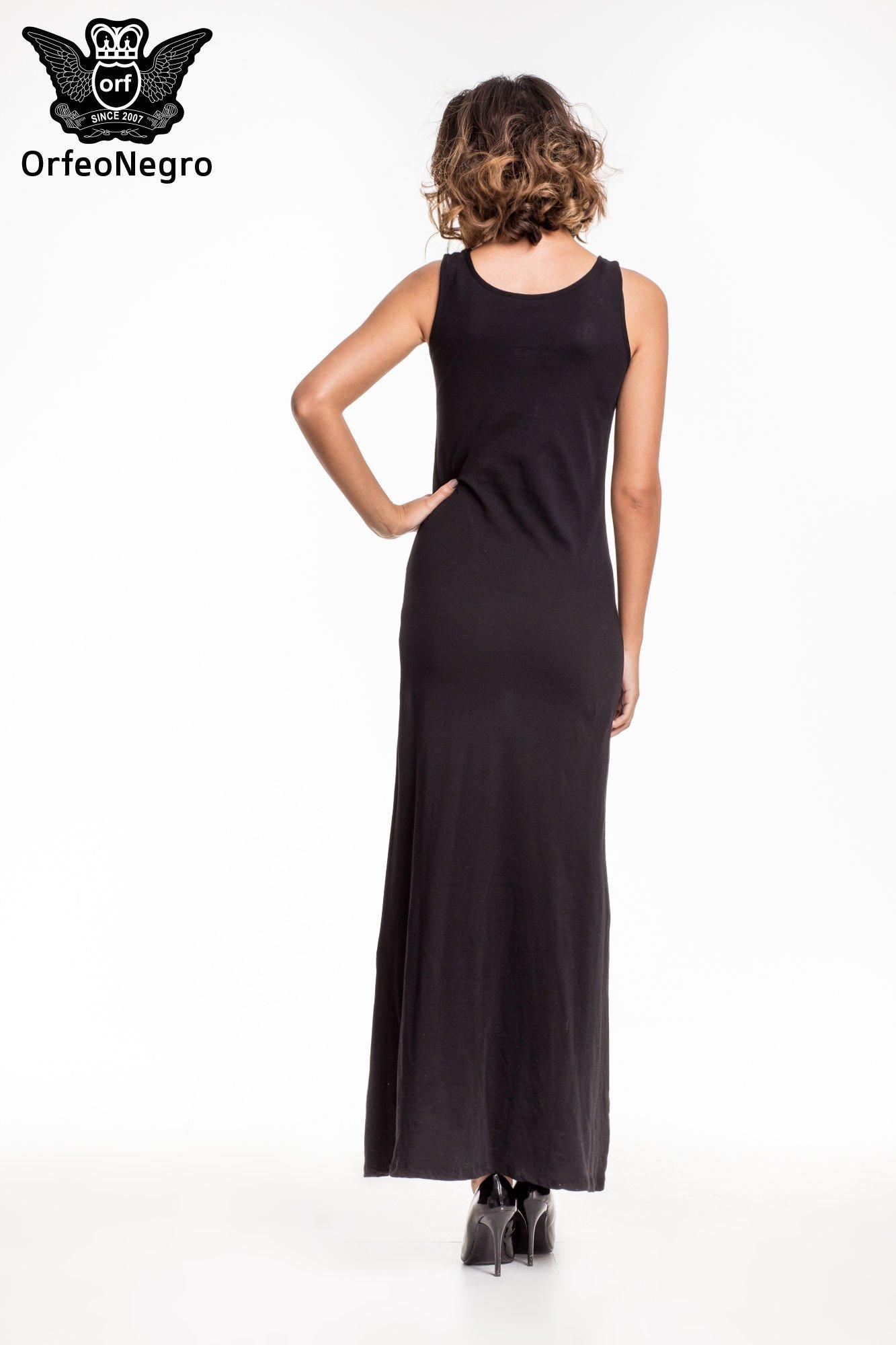 Czarna sukienka maxi z napisem MUST HAVE i motywem moustache                                  zdj.                                  4