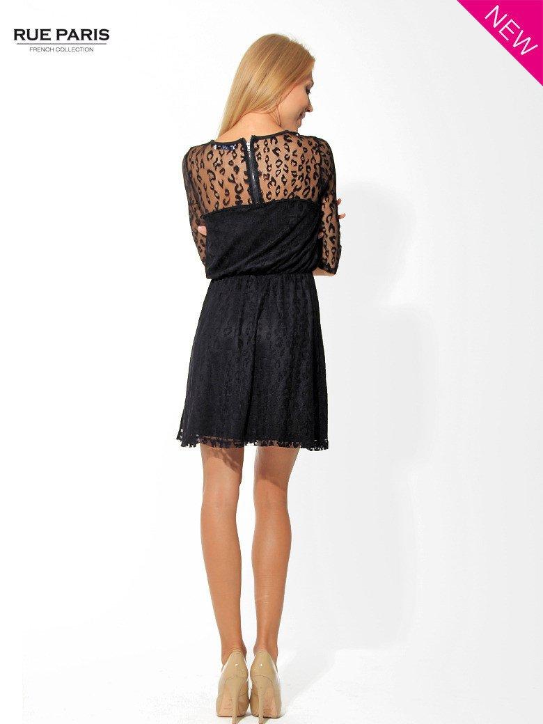 Czarna sukienka pokryta panterkową siateczką                                  zdj.                                  4