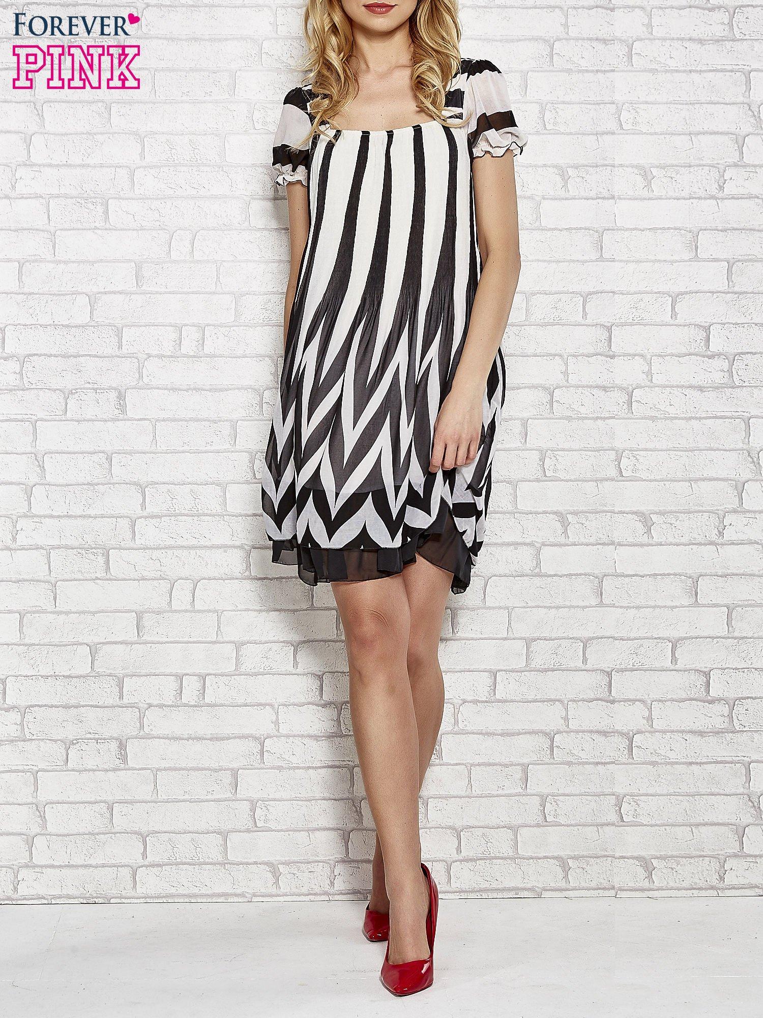 Czarna sukienka w paski z bufiastymi rękawkami                                  zdj.                                  2