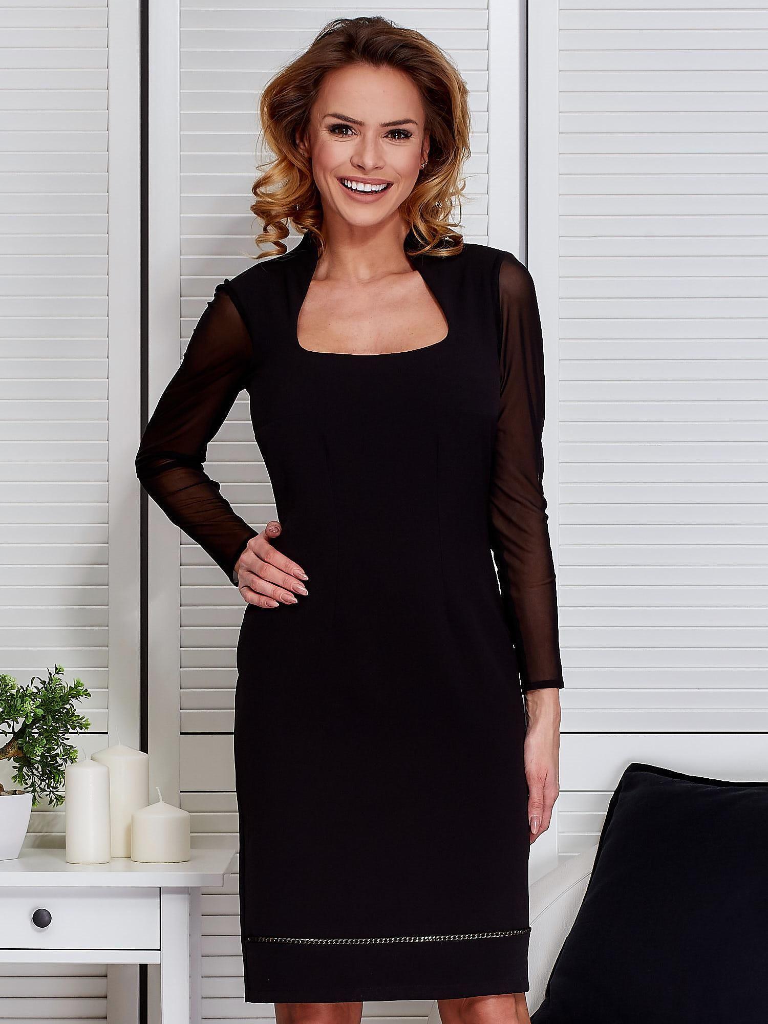 3b32e0d26a Czarna sukienka z siatkowymi rękawami - Sukienka koktajlowa - sklep ...