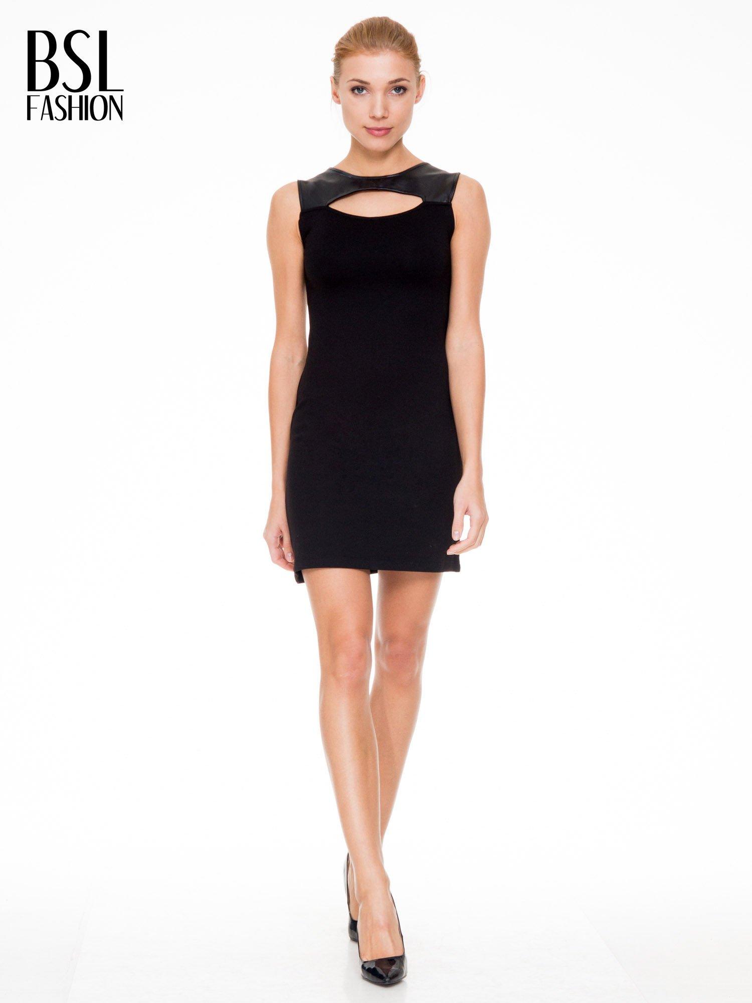 Czarna sukienka ze skórzaną górą i dekoltem typu cut out                                  zdj.                                  2