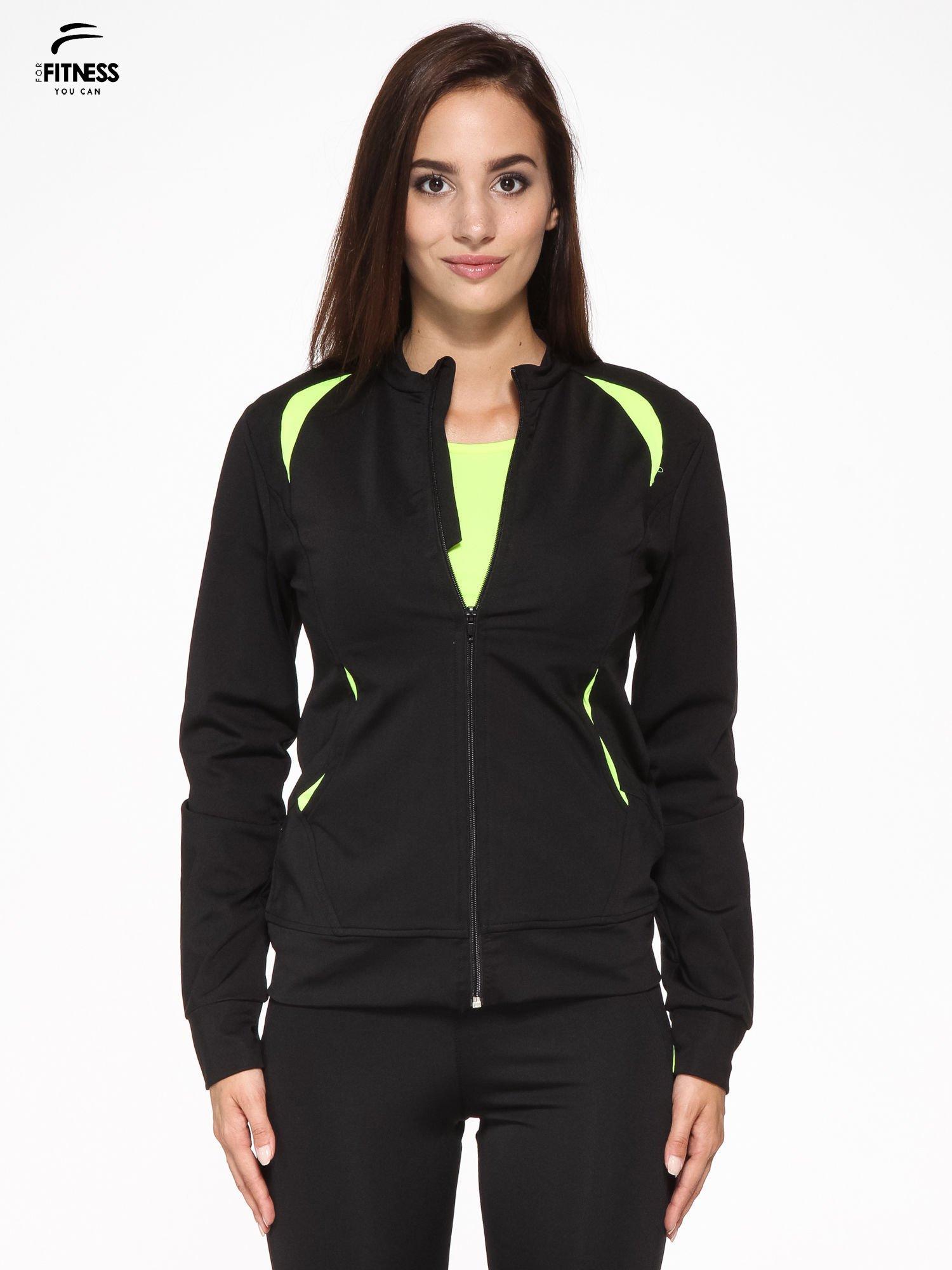 Czarna termoaktywna bluza do biegania z fluozielonymi wstawkami ♦ Performance RUN                                  zdj.                                  1