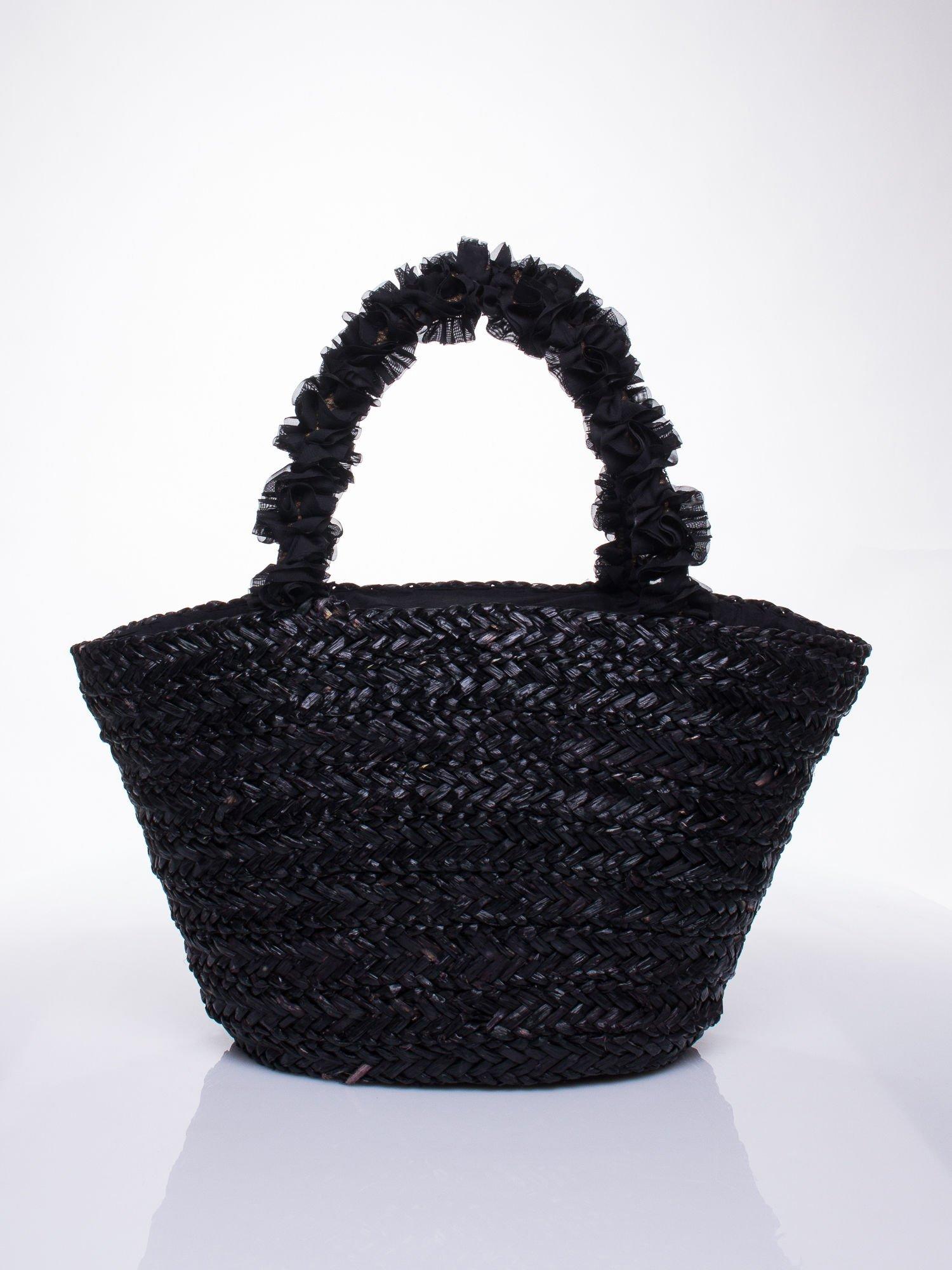 Czarna torba koszyk plażowy z ozdobnymi kwiatami                                  zdj.                                  4