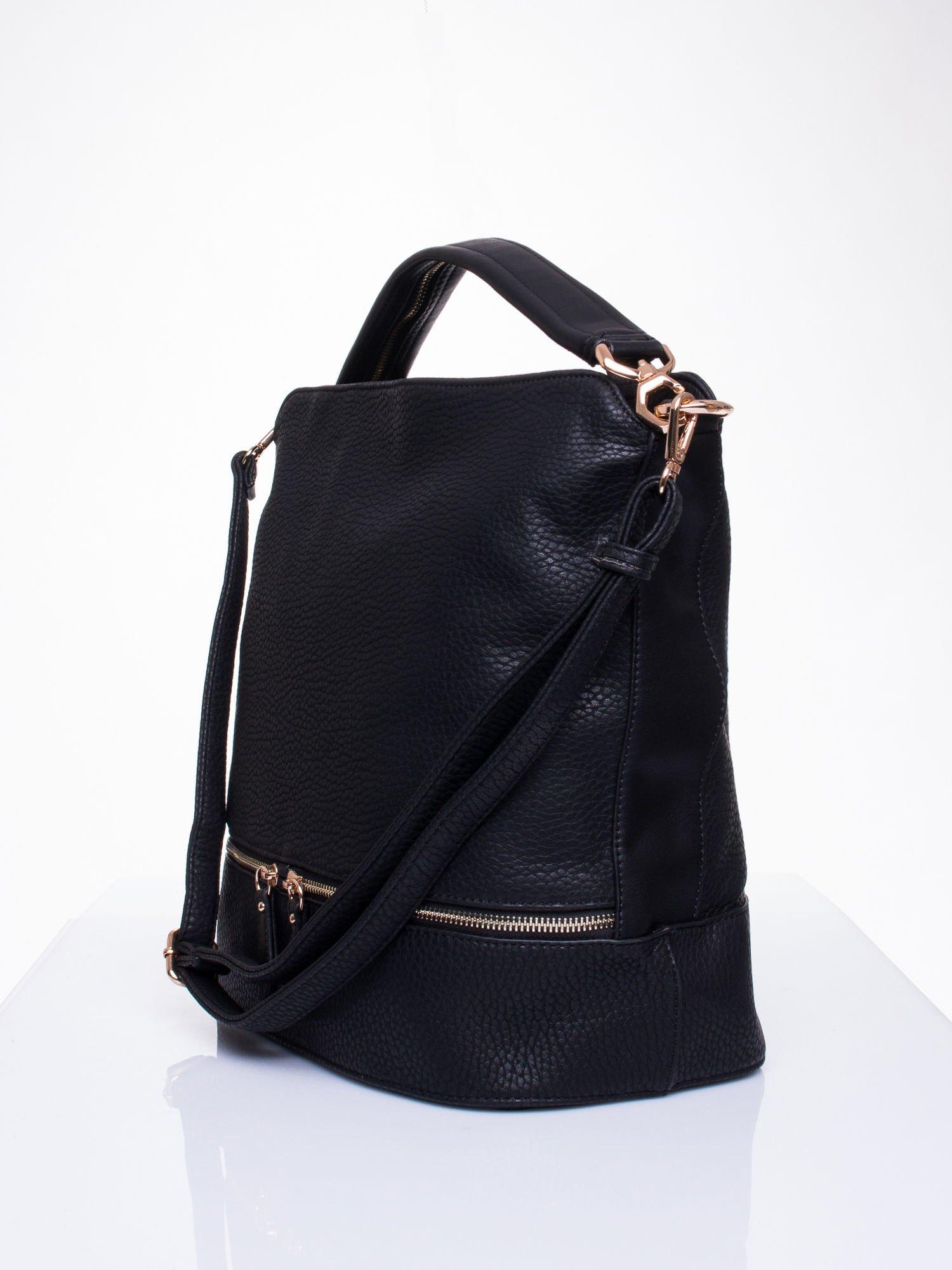Czarna torba na ramię z ozdobnymi suwakami                                  zdj.                                  3