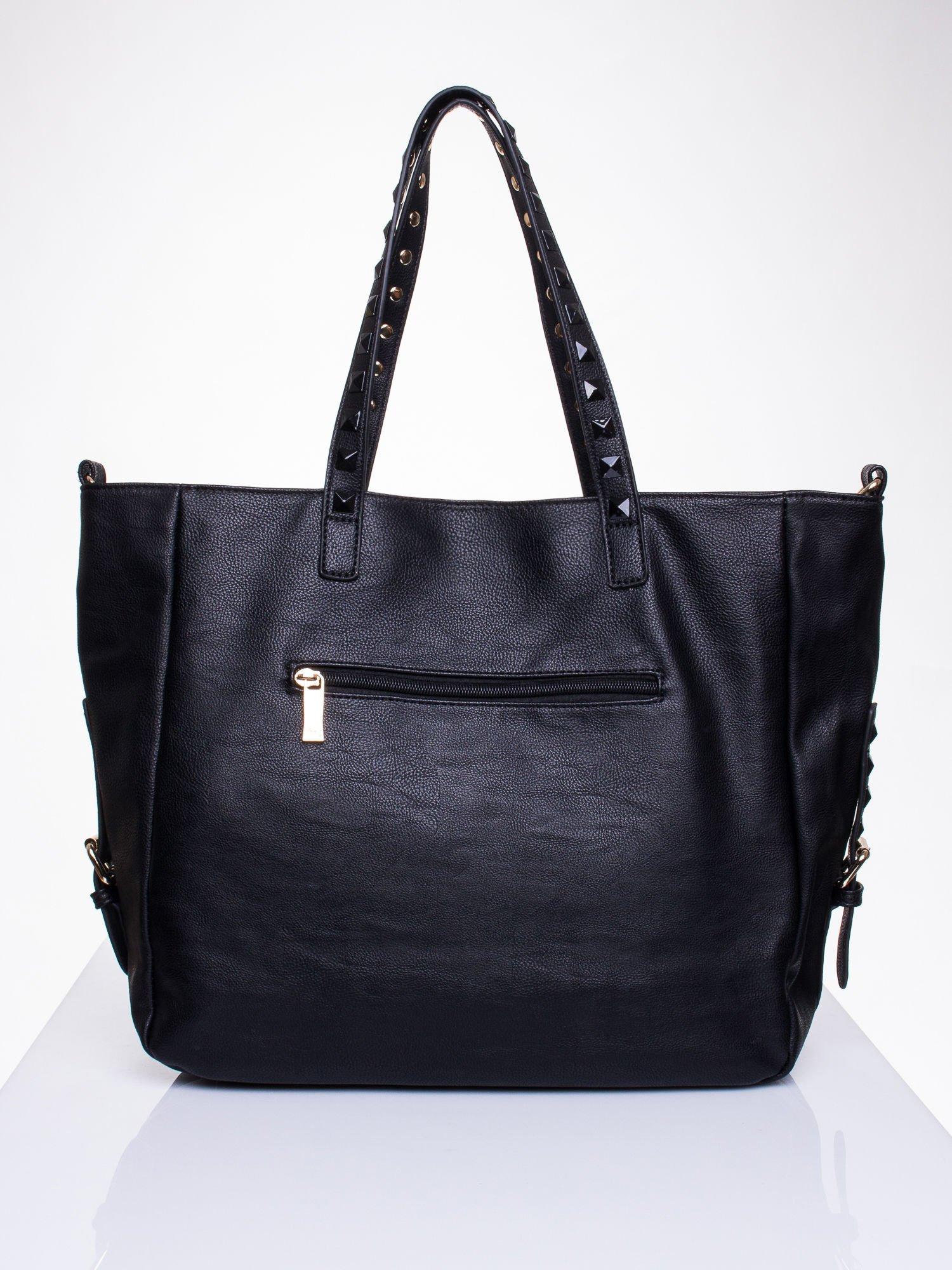 Czarna torba shopper bag z kolorowymi ćwiekami                                  zdj.                                  2