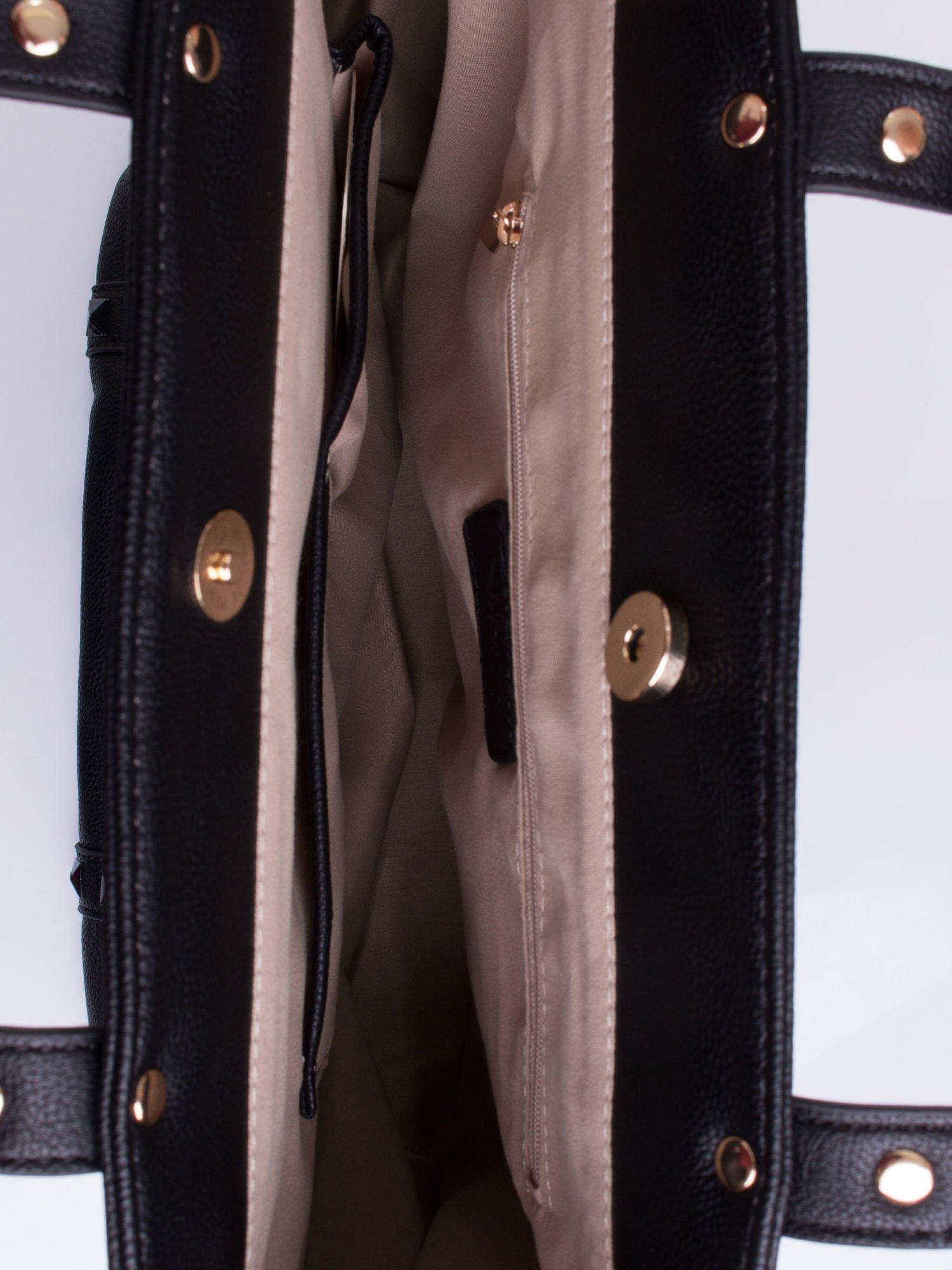 Czarna torba shopper bag z kolorowymi ćwiekami                                  zdj.                                  4