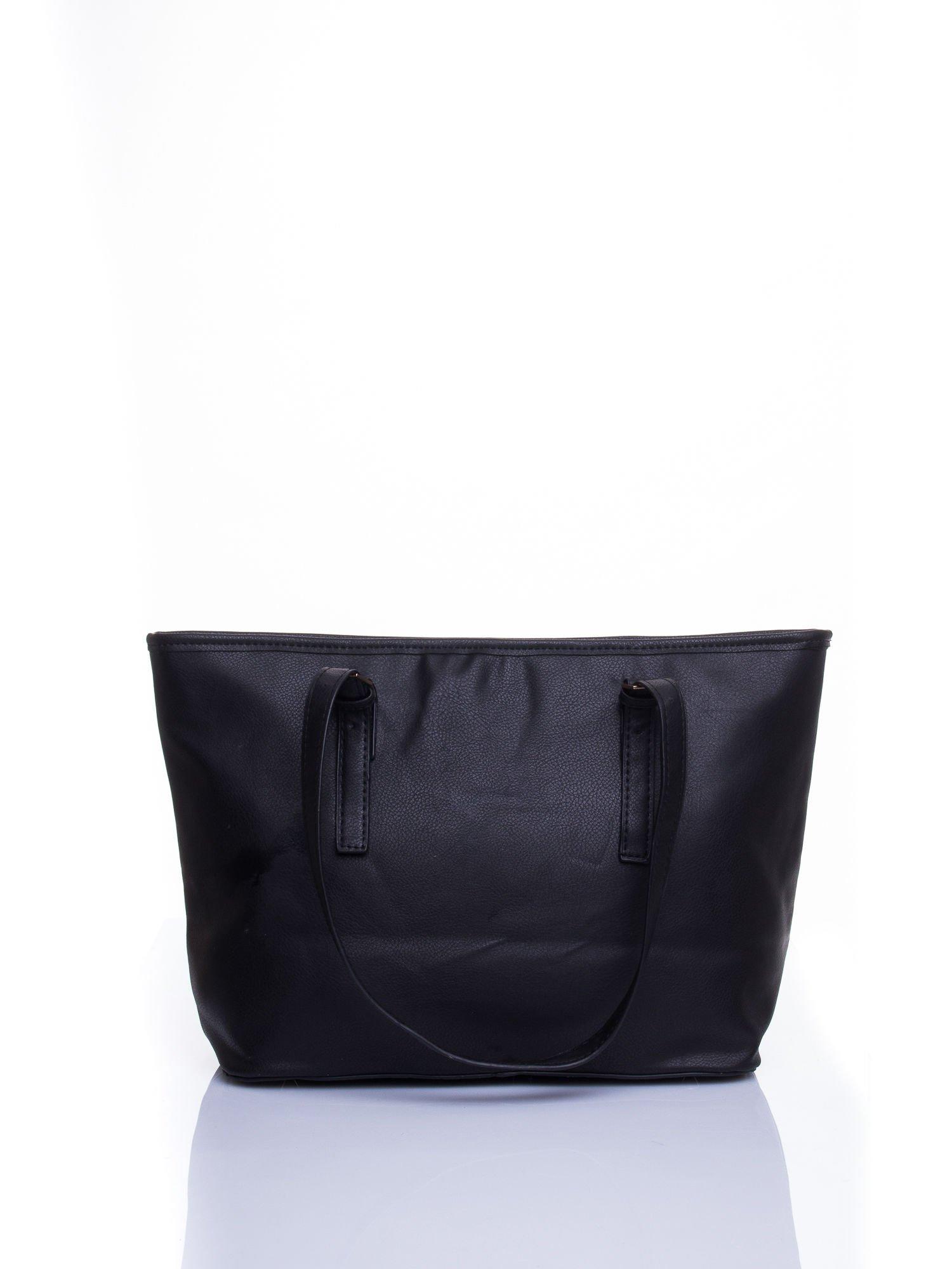 Czarna torba shopper bag z regulowanymi rączkami                                  zdj.                                  3