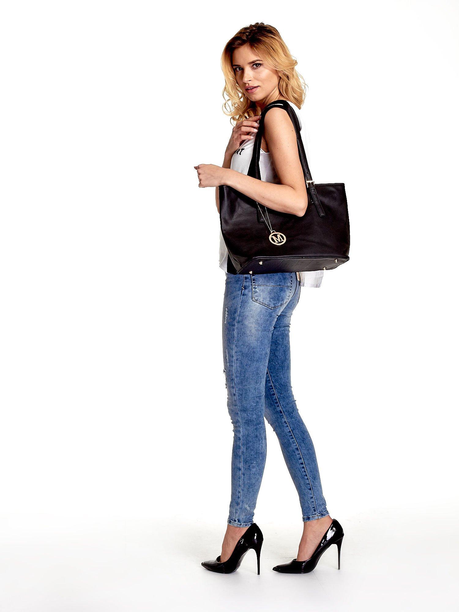 Czarna torba shopper bag z regulowanymi rączkami                                  zdj.                                  6