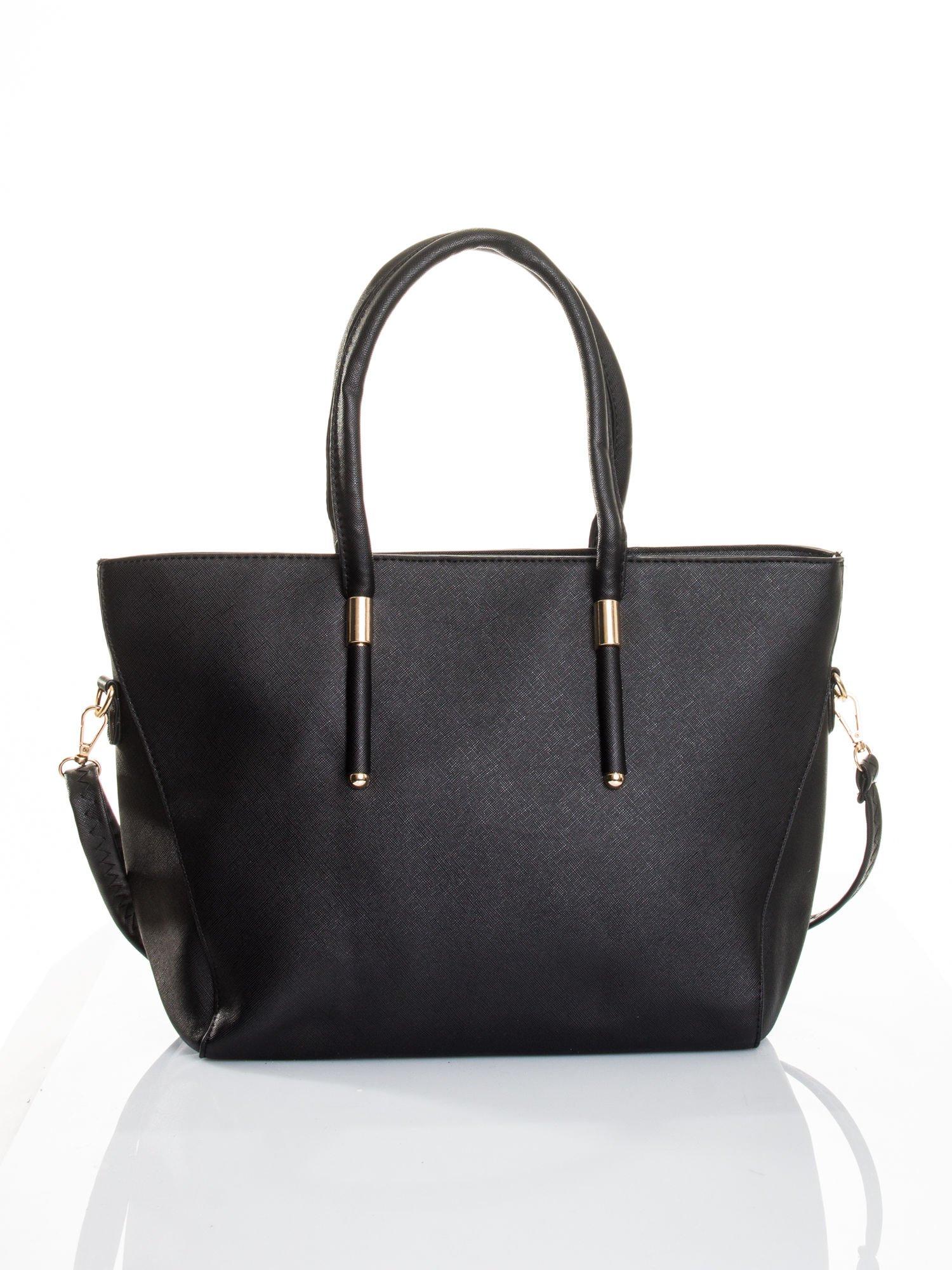 Czarna torba shopper efekt saffiano                                  zdj.                                  1