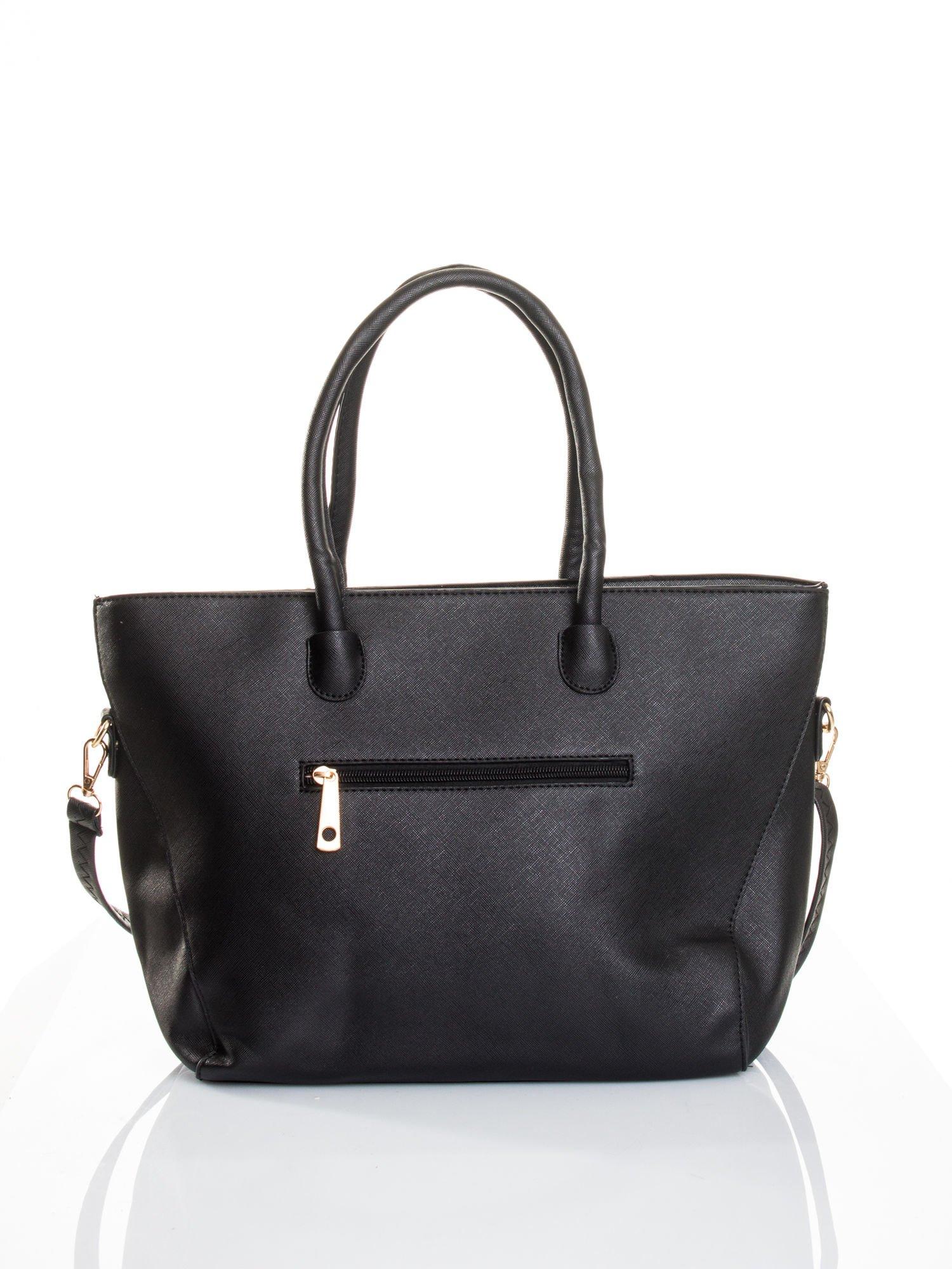 Czarna torba shopper efekt saffiano                                  zdj.                                  2