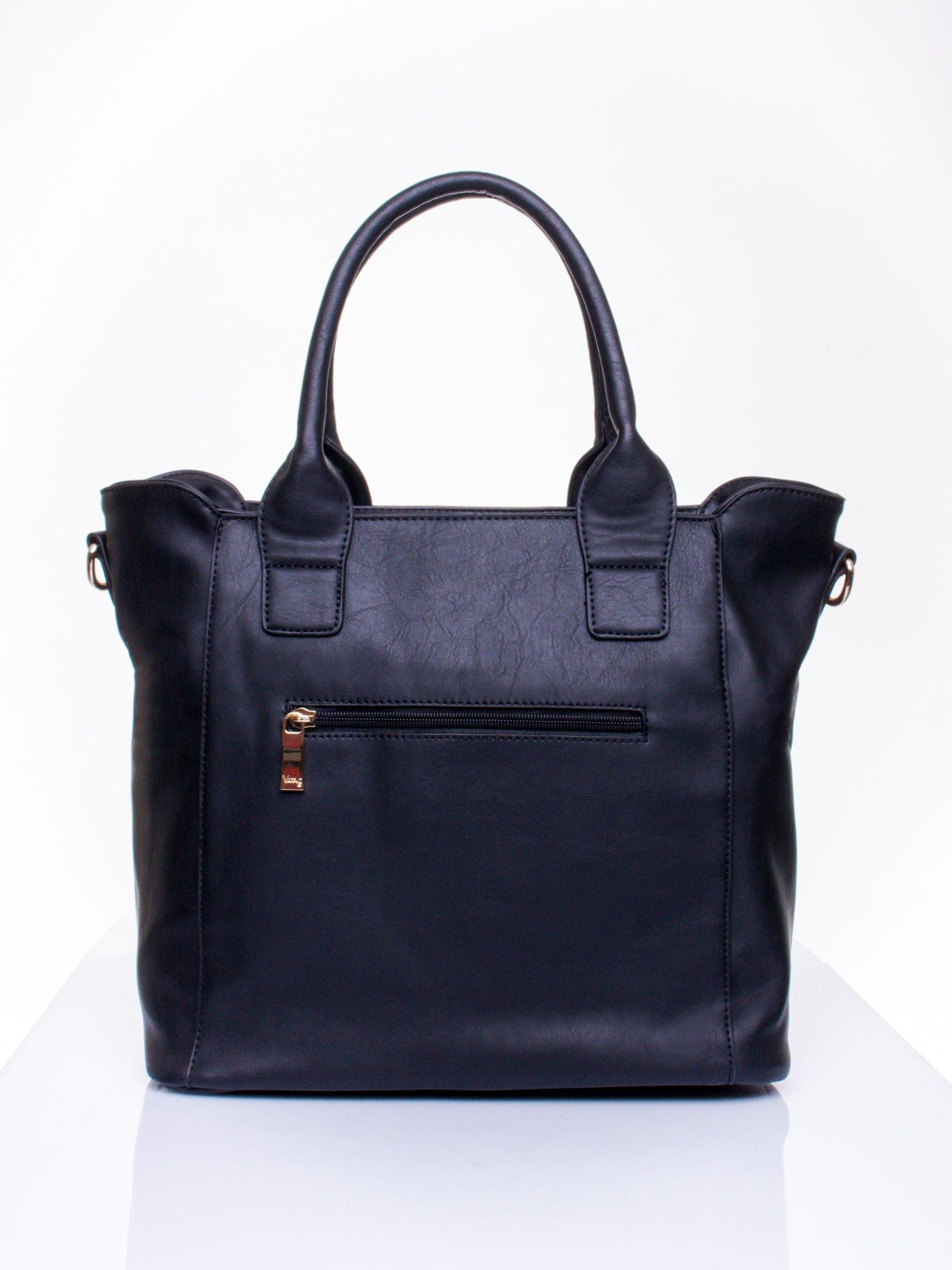 Czarna torba shopper ze stębnowaniem                                  zdj.                                  3