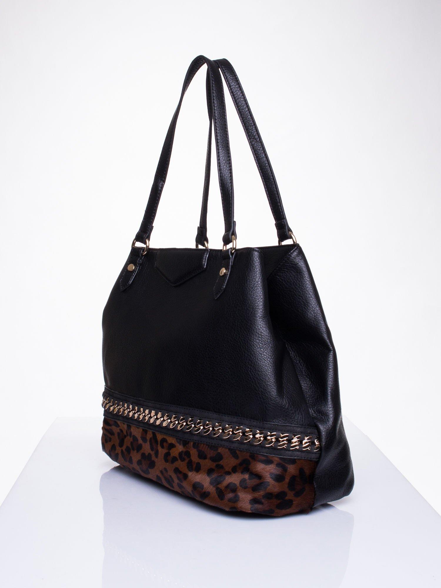 Czarna torba z panterkowym motywem                                  zdj.                                  3