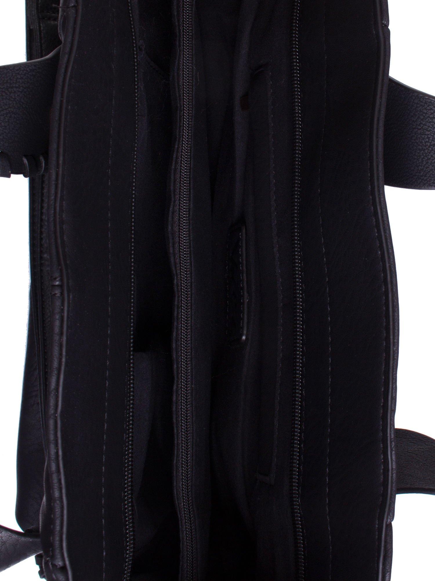 Czarna torba z wywiniętymi rączkami                                  zdj.                                  4
