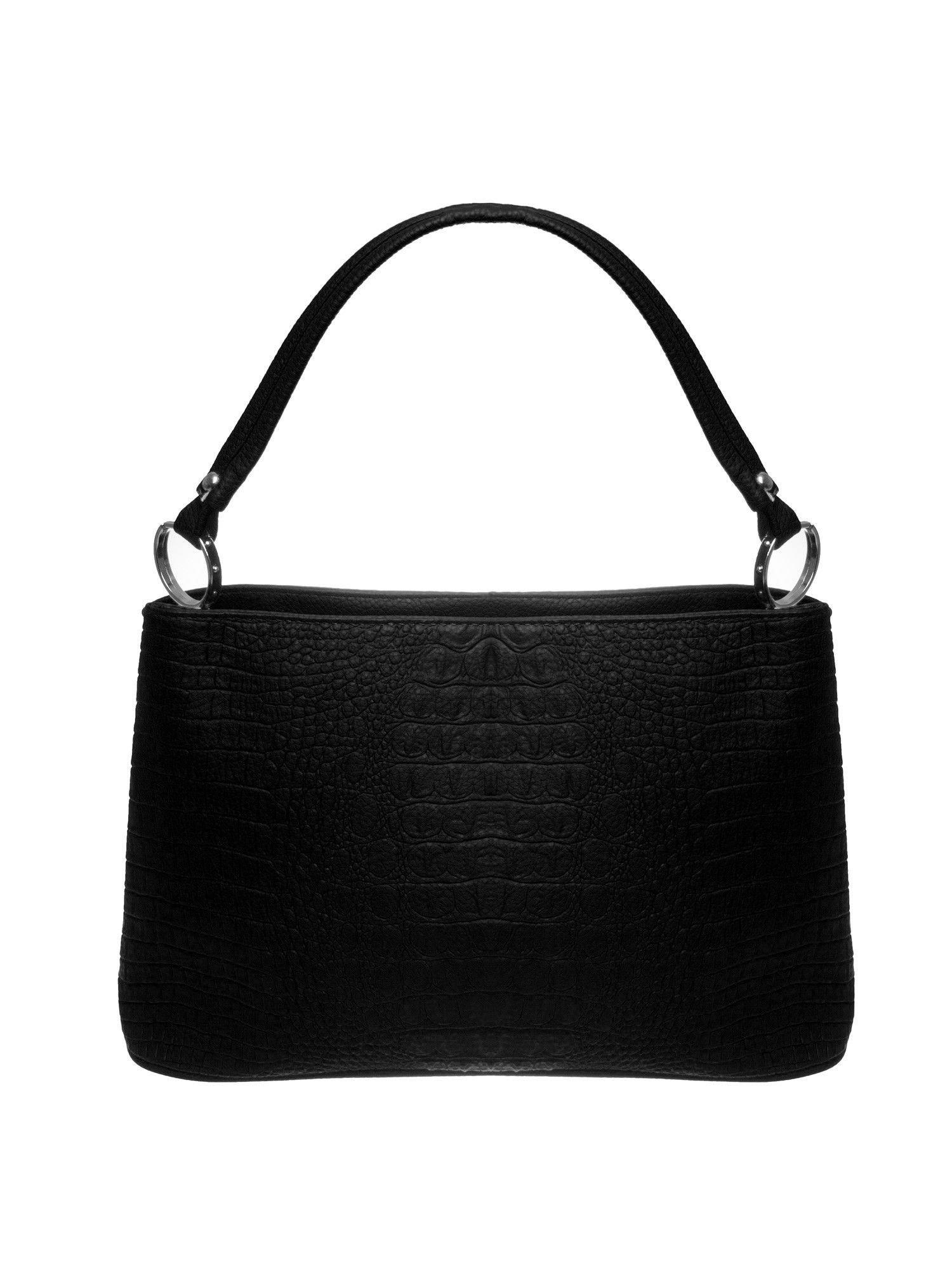 Czarna torebka na ramię tłoczona na wzór skóry krokodyla                                  zdj.                                  1