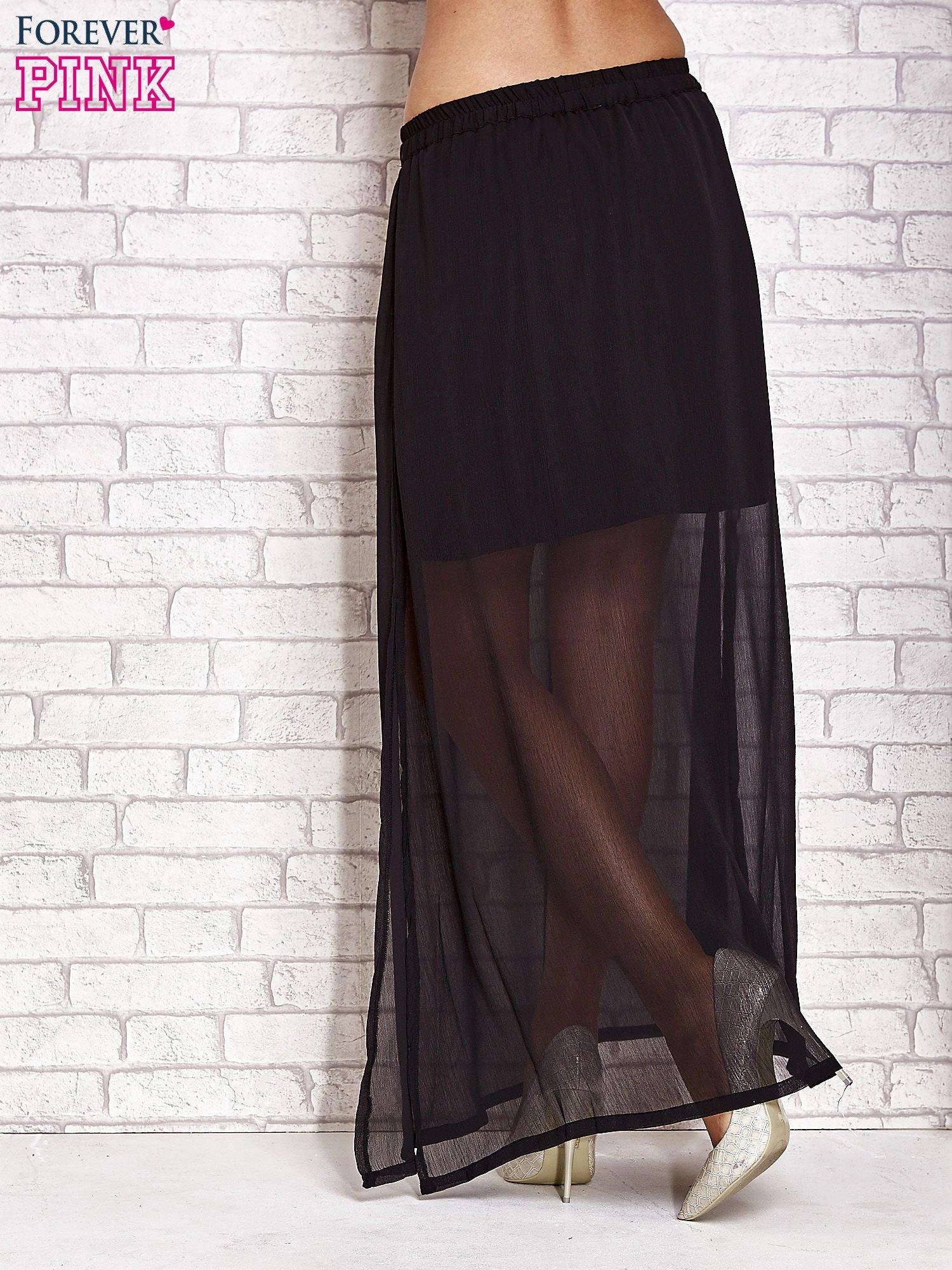Czarna transparentna spódnica maxi                                  zdj.                                  4