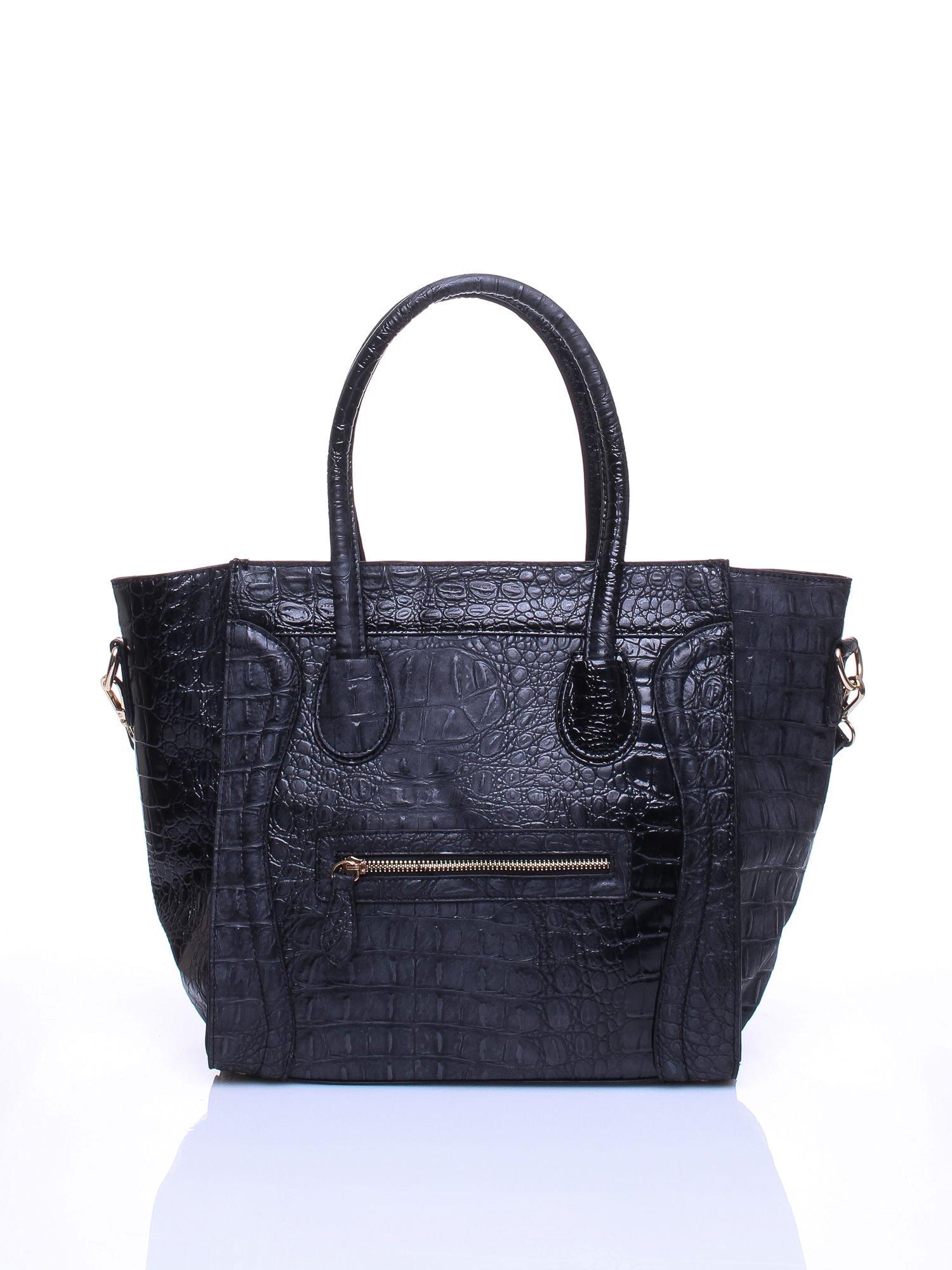 Czarna trapezowa torba miejska z efektem skóry krokodyla                                  zdj.                                  2