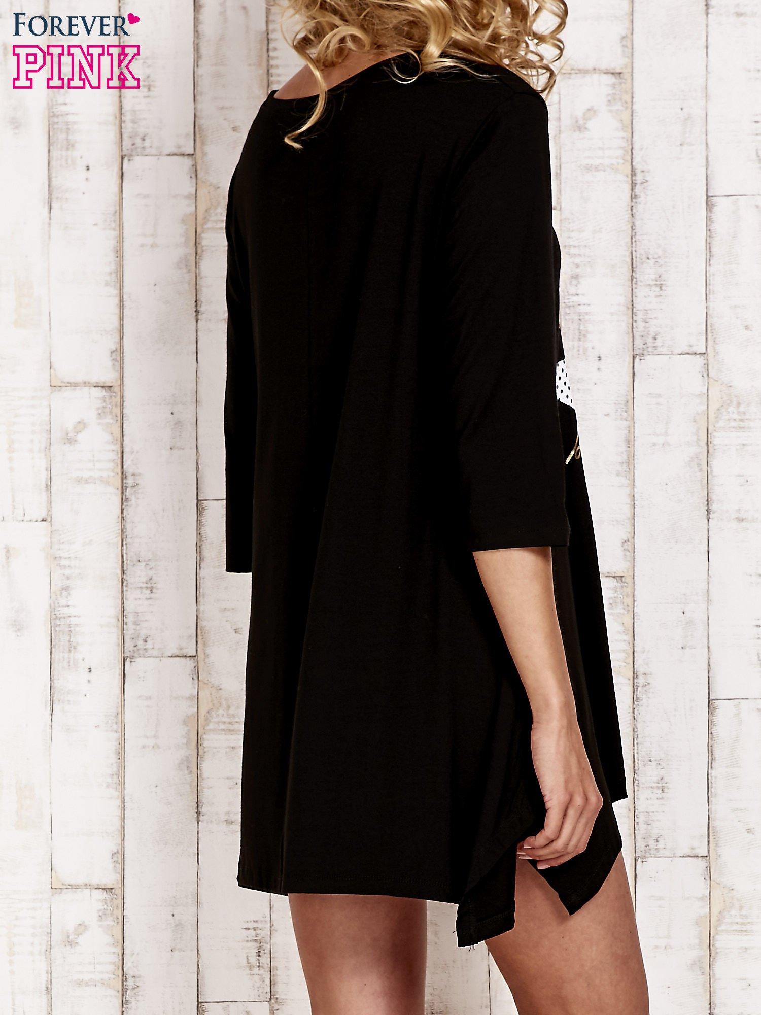 Czarna tunika dresowa z printem gwiazdy                                  zdj.                                  4