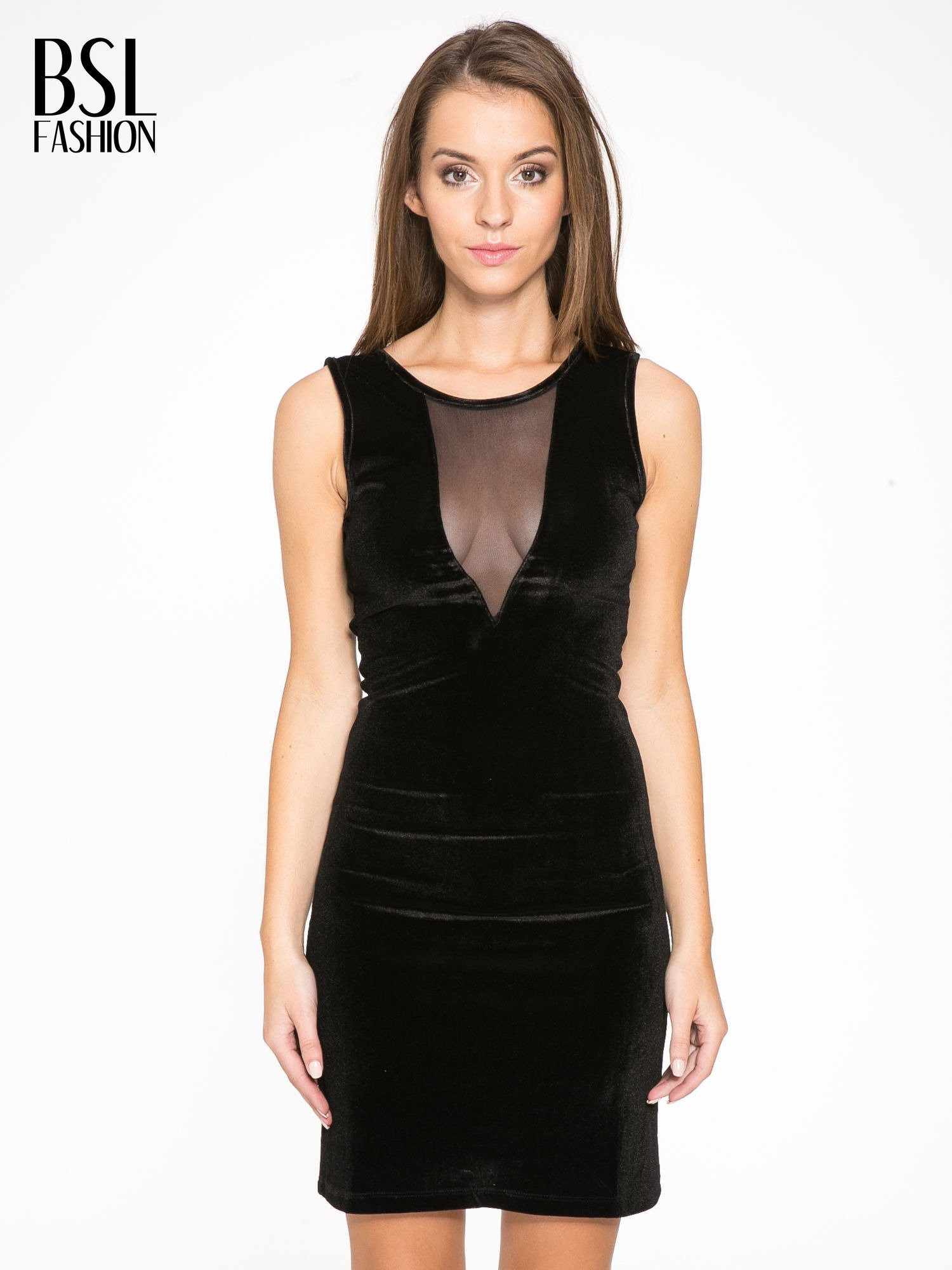 Czarna welurowa sukienka z głębokim tiulowym dekoltem                                  zdj.                                  1