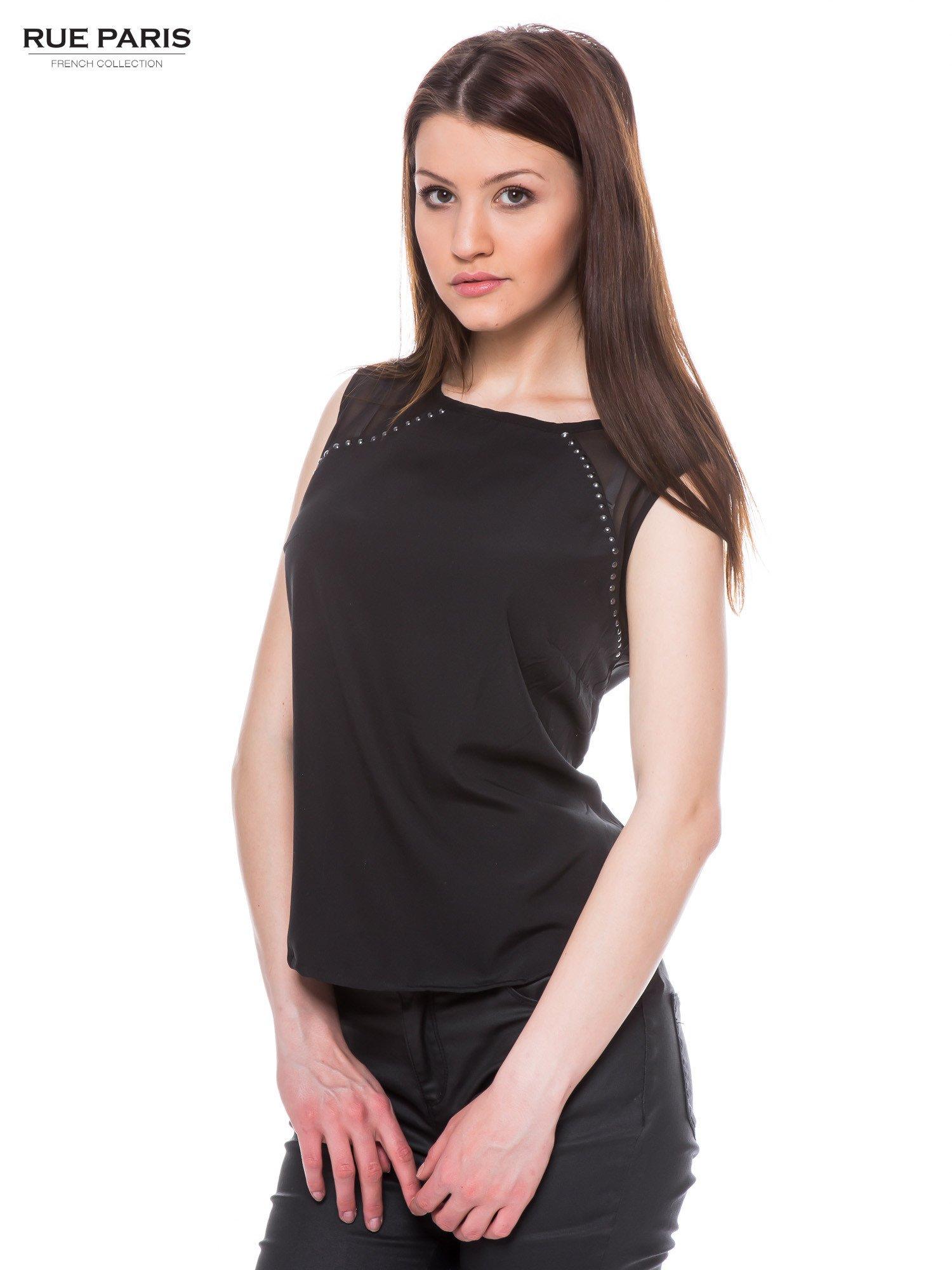 Czarna zwiewna koszula z dżetami                                  zdj.                                  2