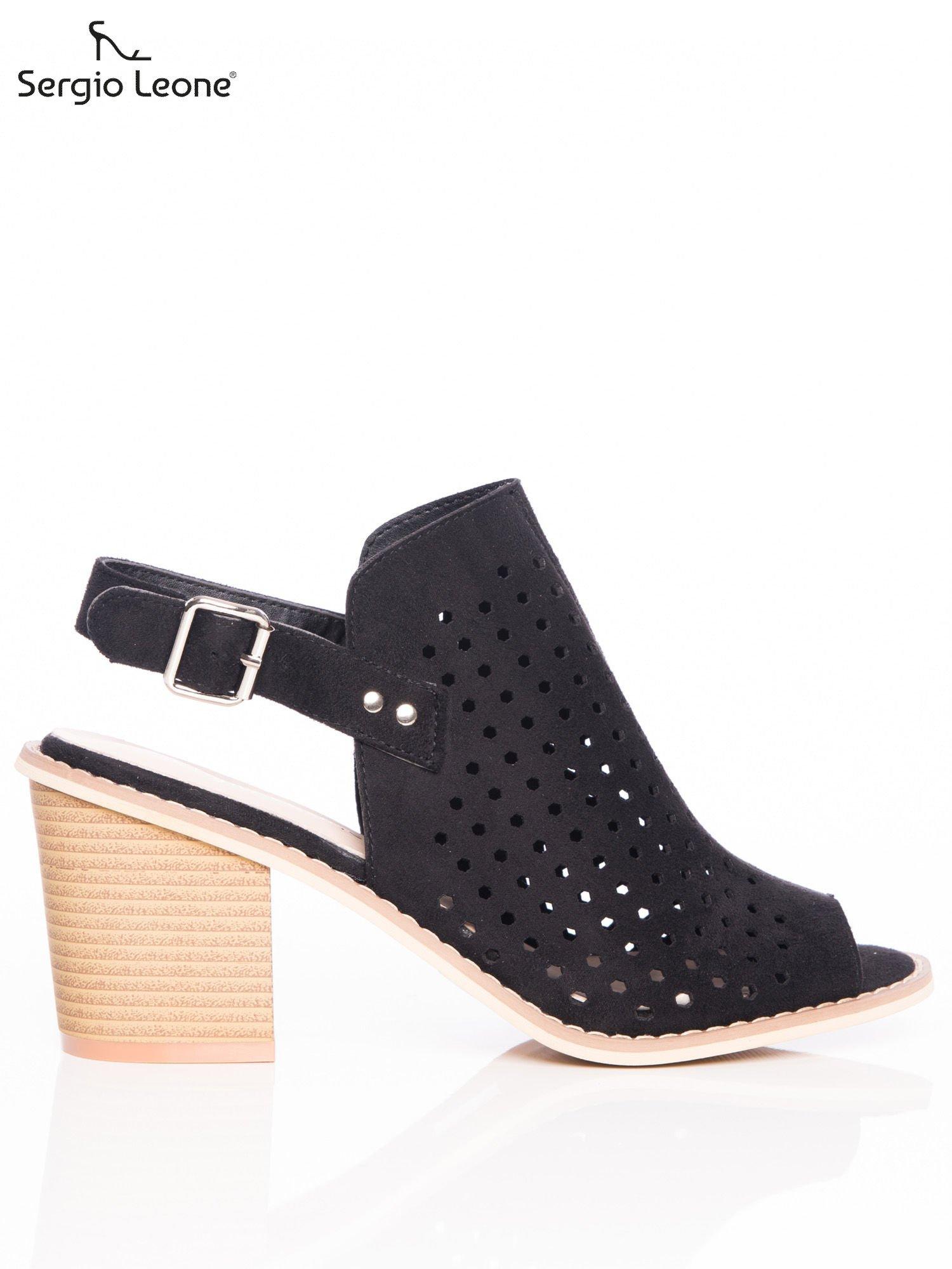 c7647421 Czarne ażurowe sandały Sergio Leone na szerokim klocku - Buty ...