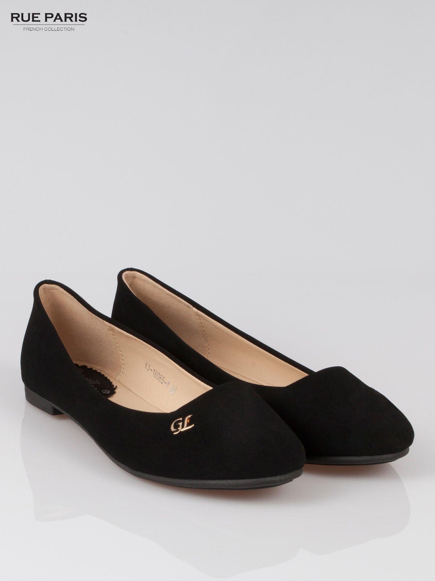 Czarne baleriny faux leather Honey ze złotym logo                                  zdj.                                  2