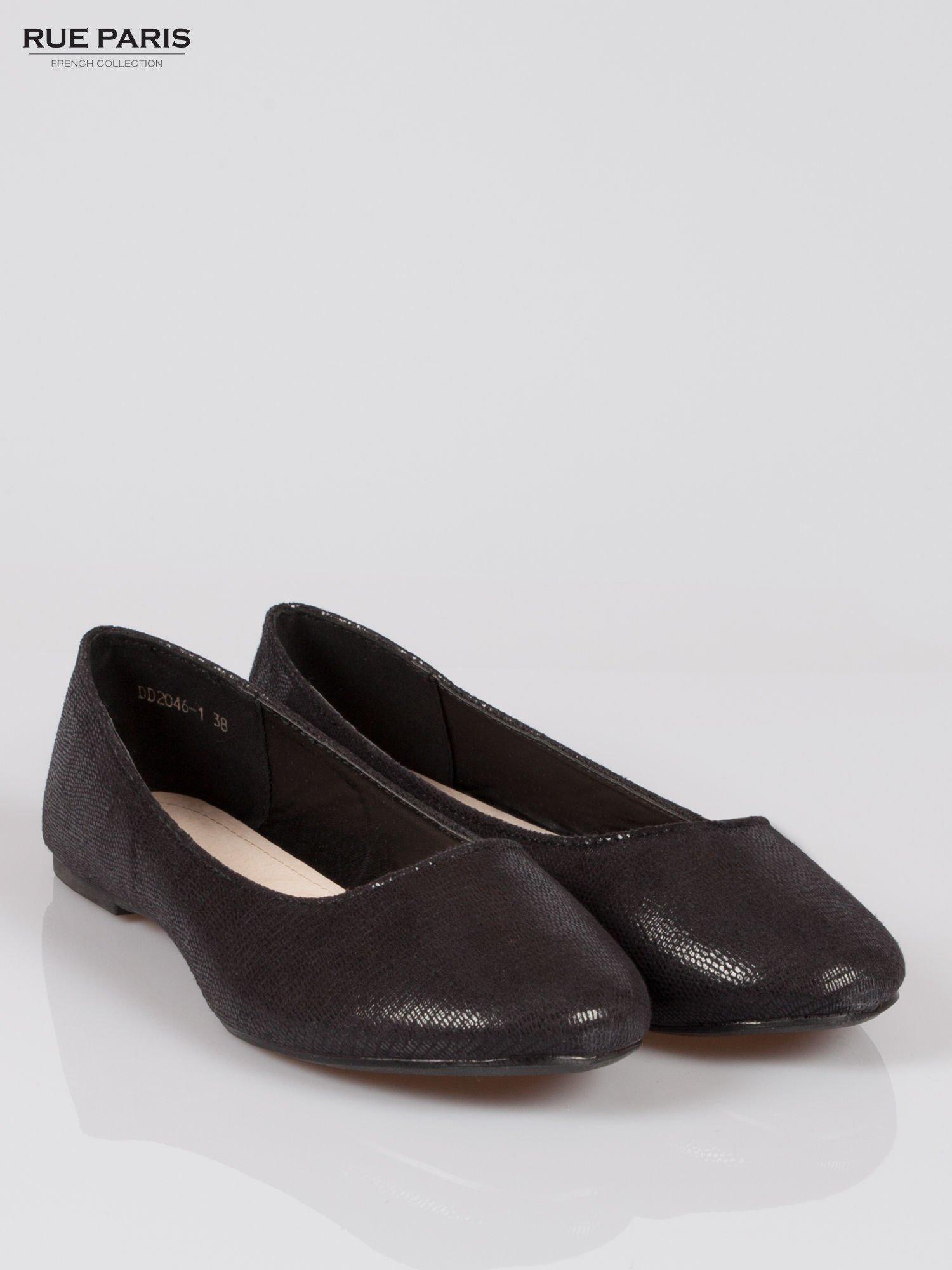 Czarne baleriny faux leather z efektem animal skin                                  zdj.                                  2
